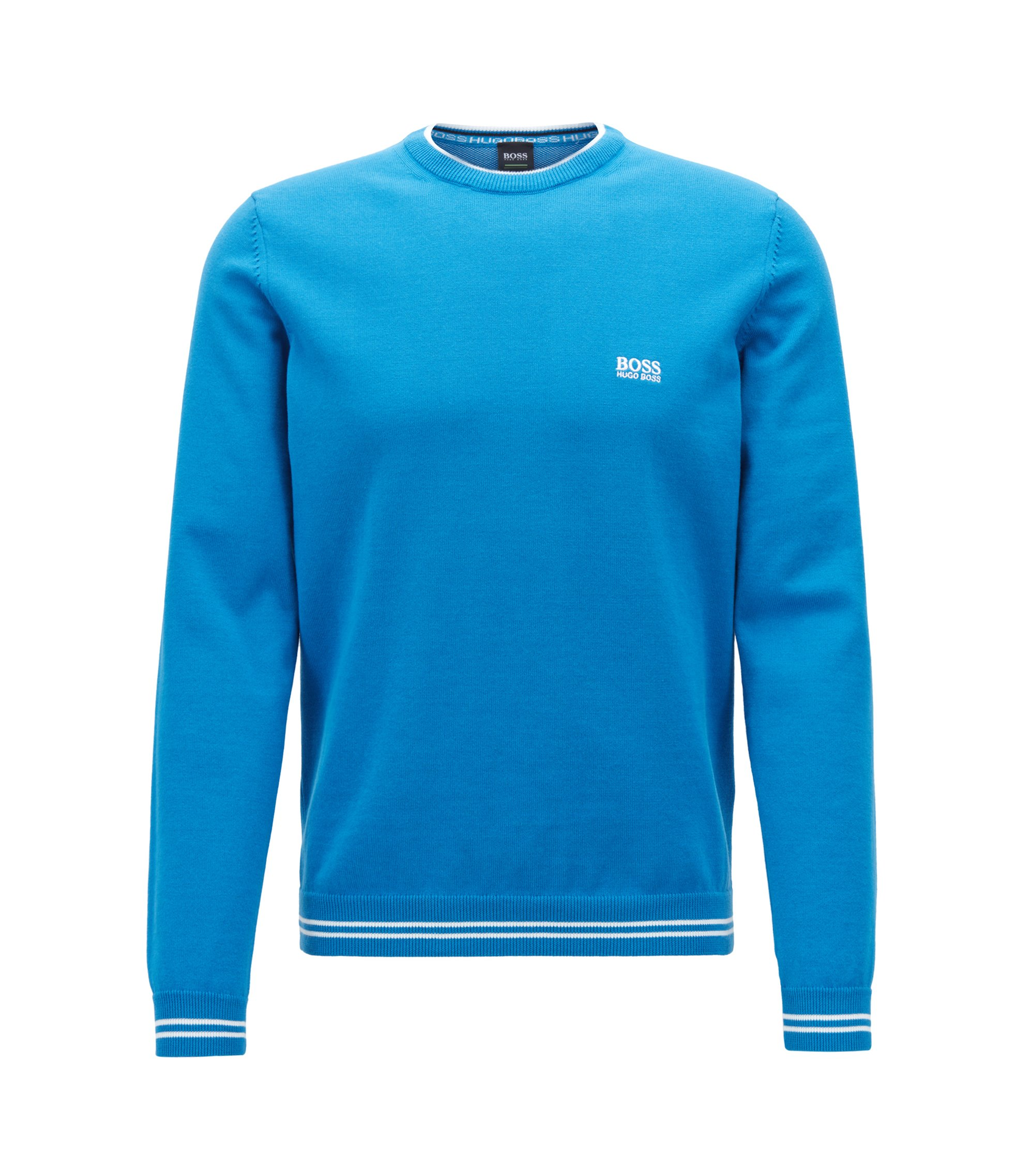 Knitted sweater with contrast tipping and logo intarsia, Blue