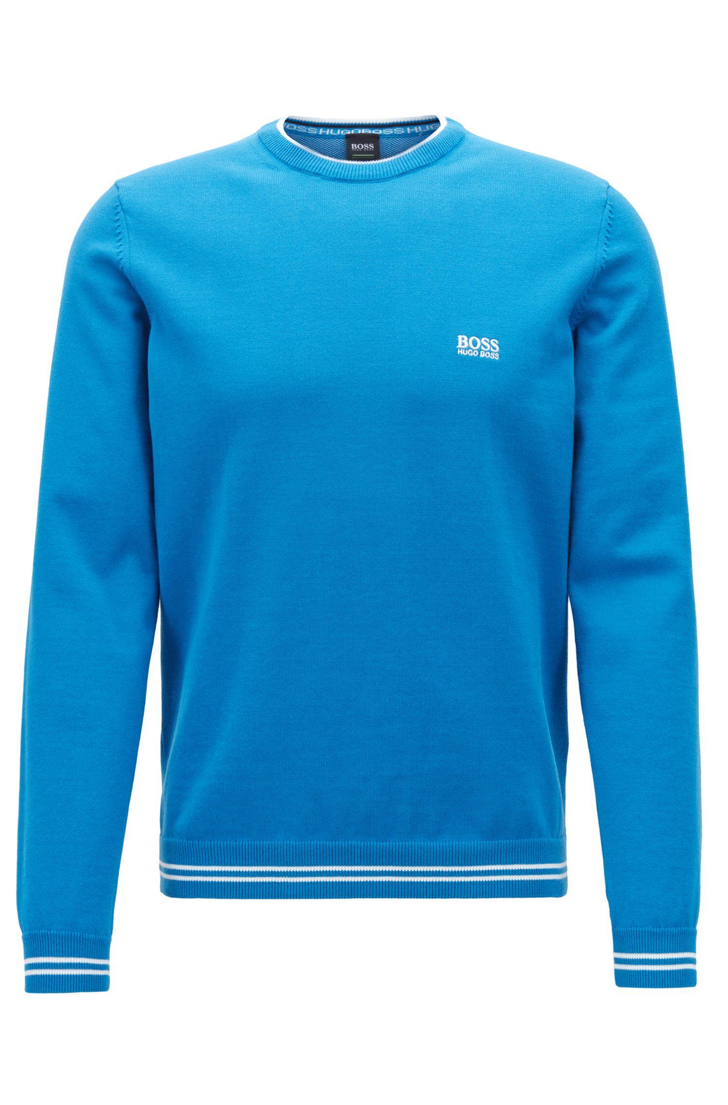 Jersey de punto con ribete en contraste y logo intarsia, Azul