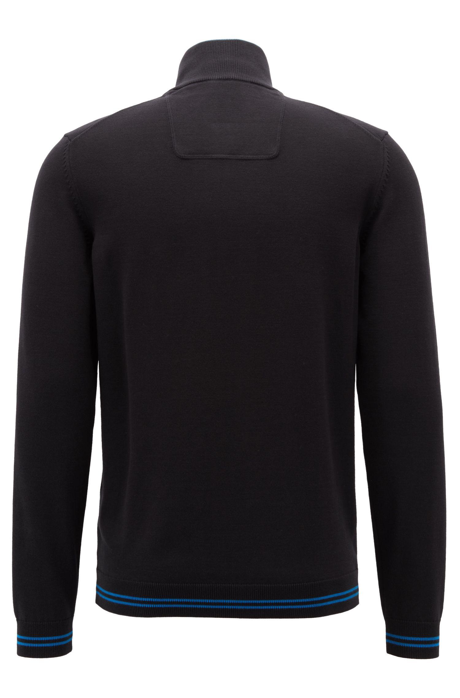 Maglione con colletto con zip in misto cotone lavorato, Nero
