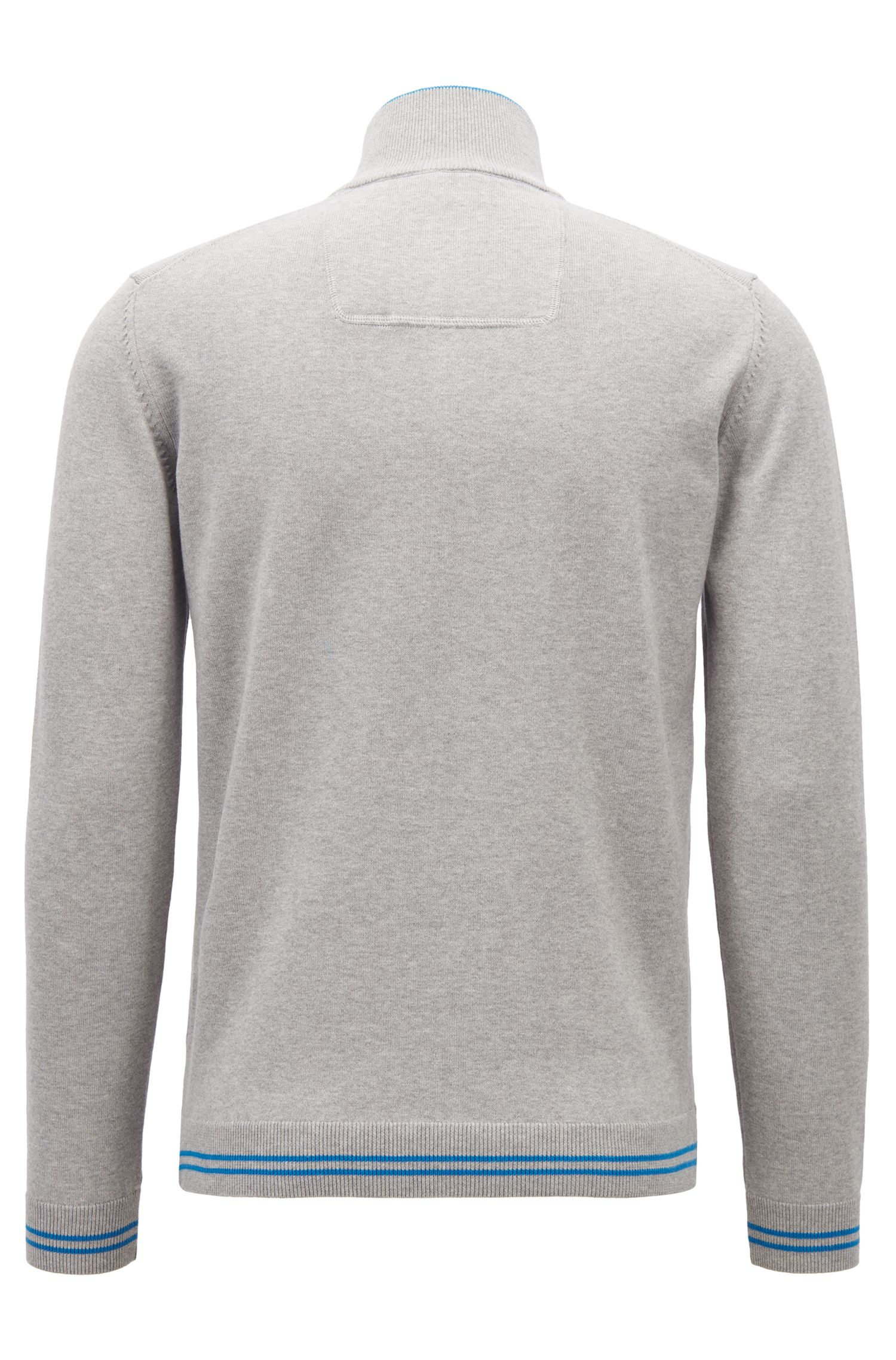 Zip-neck sweater in a knitted cotton blend, Light Grey
