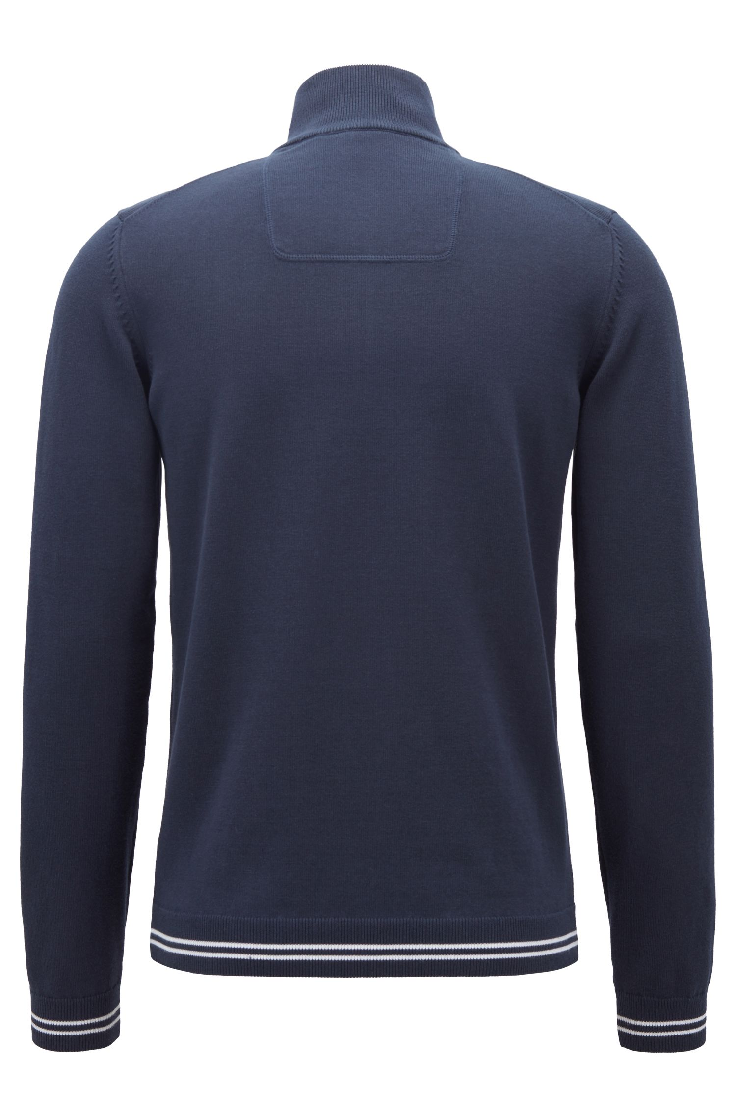 Zip-neck sweater in a knitted cotton blend, Dark Blue