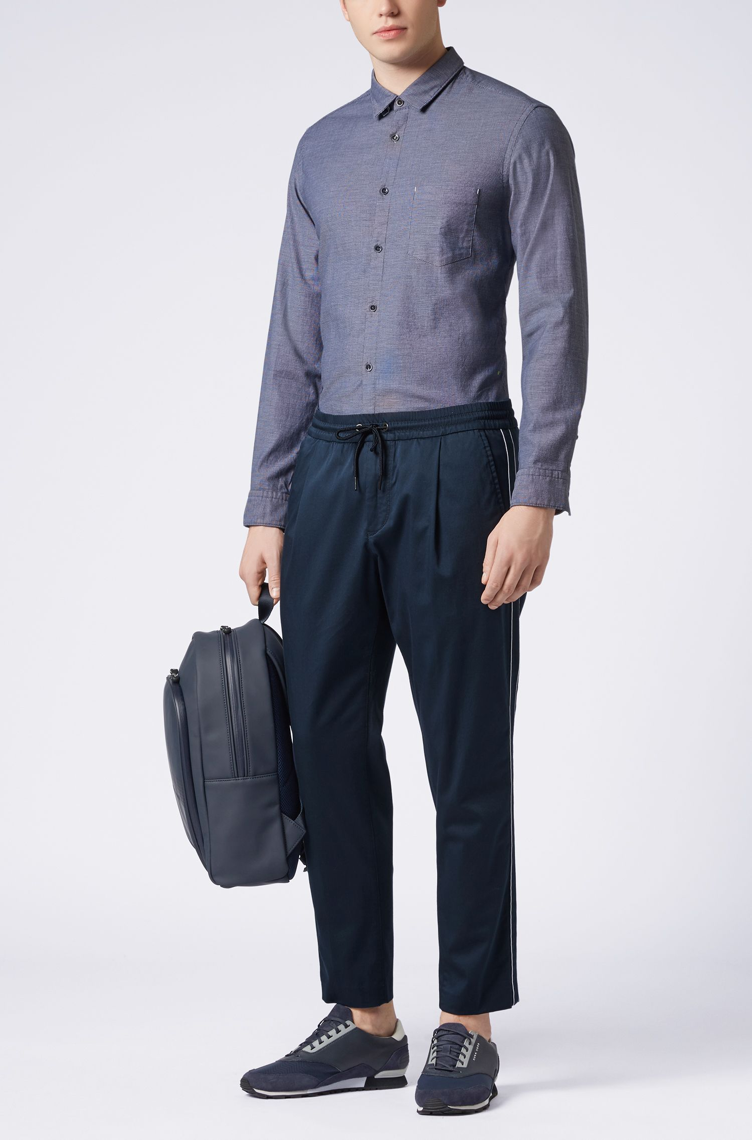 Regular-fit overhemd in peper-en-zoutlook van oxfordkatoen met stretch, Donkerblauw