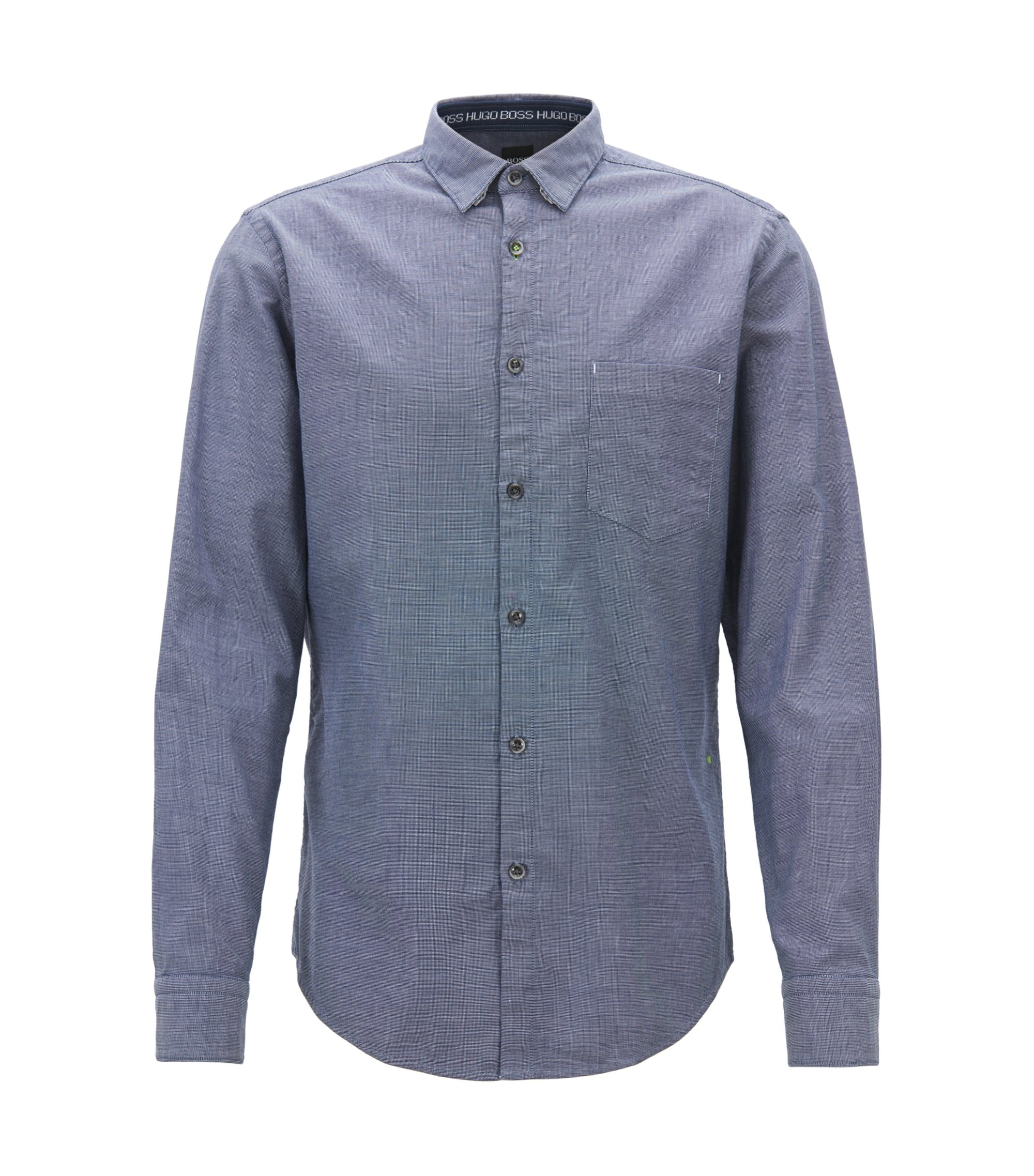 Camicia regular fit in cotone oxford elasticizzato sale e pepe, Blu scuro