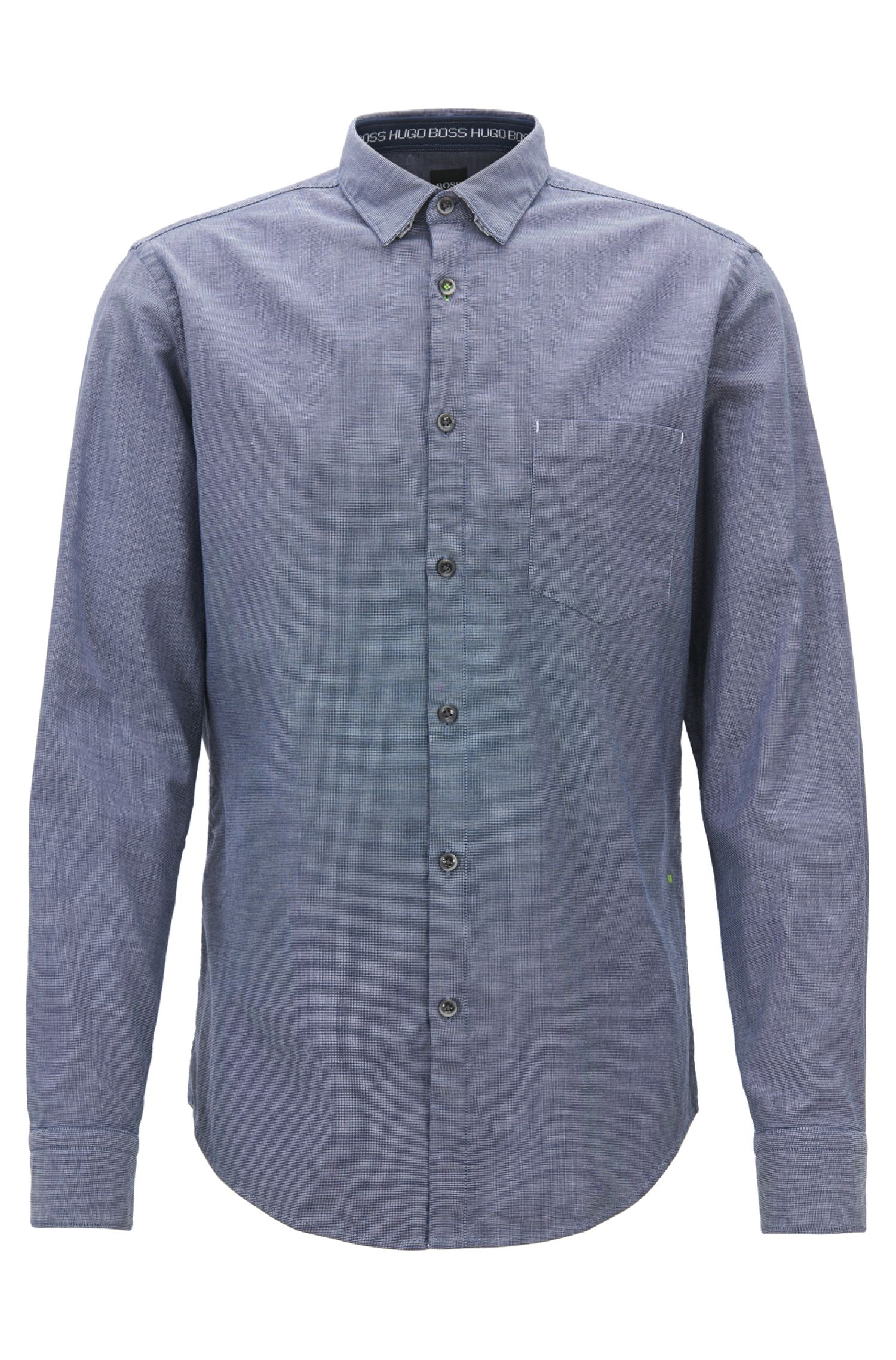 Regular-fit shirt in salt-and-pepper Oxford stretch cotton, Dark Blue