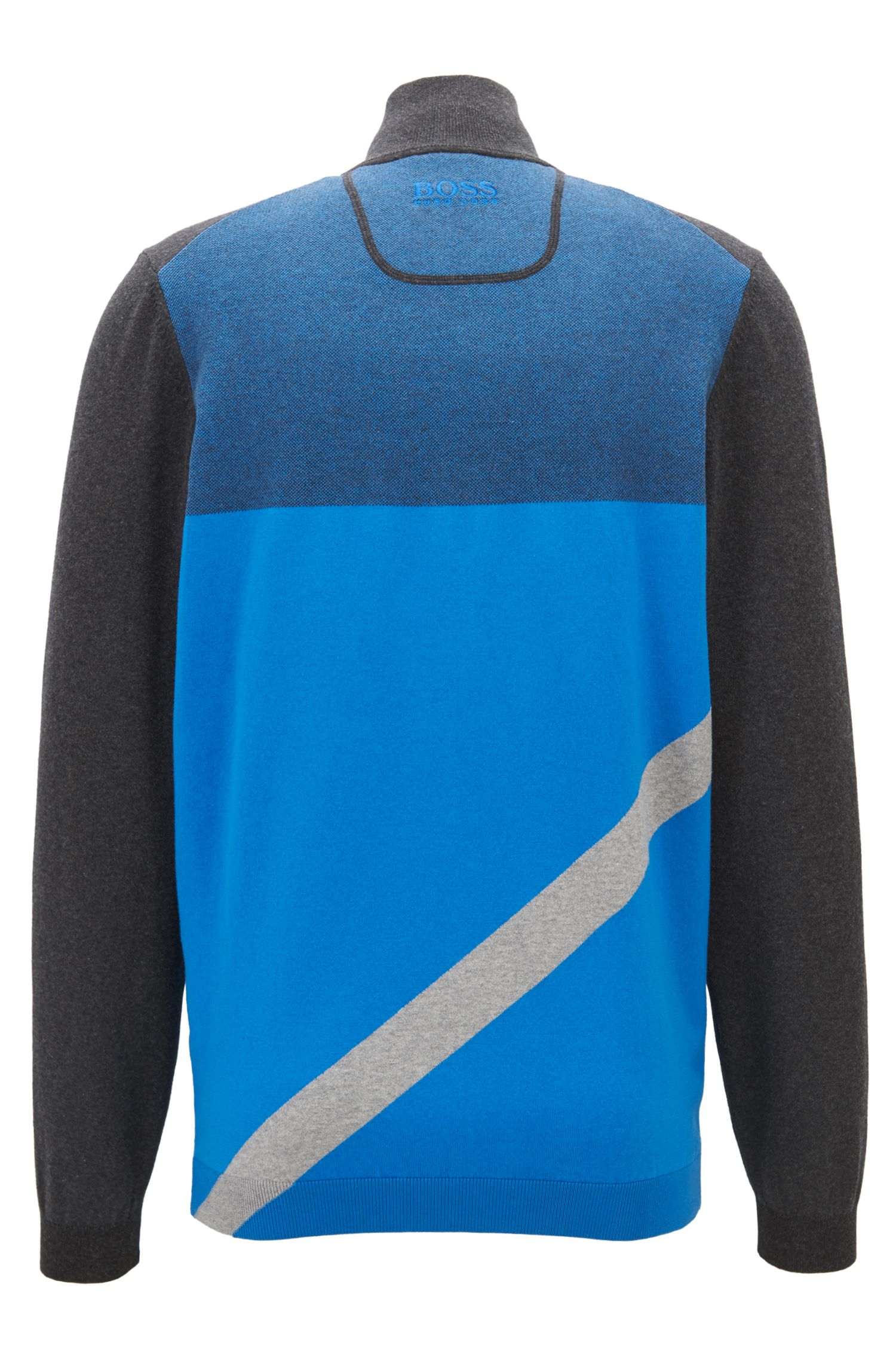 Water-repellent zip-through sweater with asymmetric colour-block, Anthracite