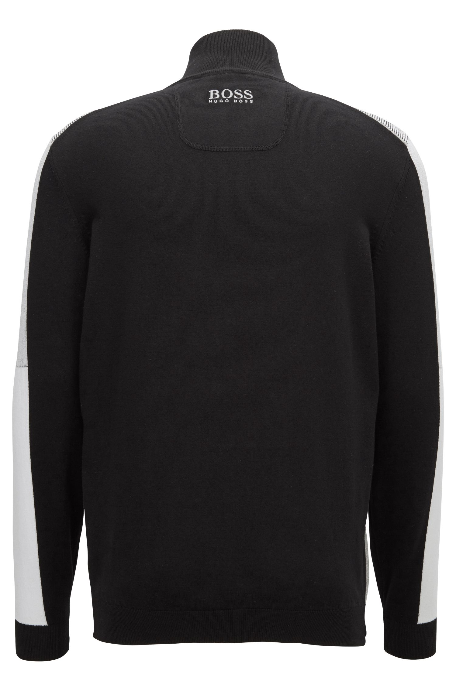 Colour-block sweater in a water-repellent cotton blend, Black