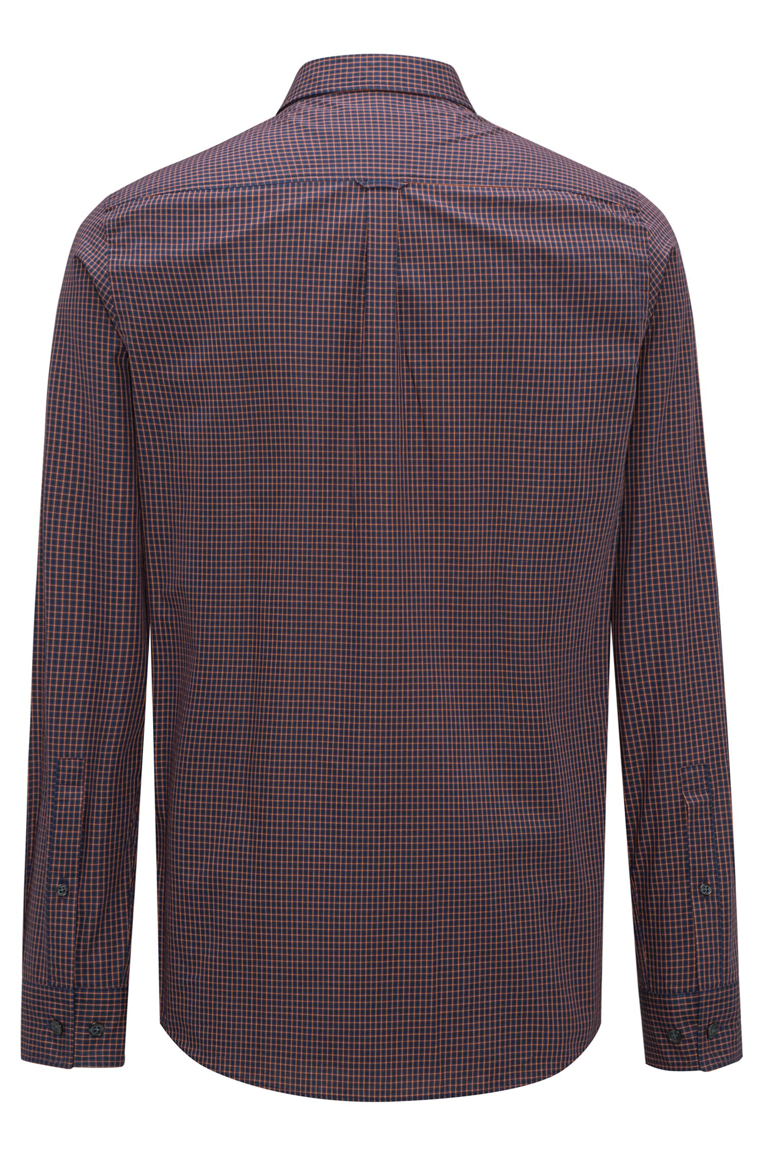 Camicia relaxed fit in tweed di cotone a quadri mélange, Blu scuro