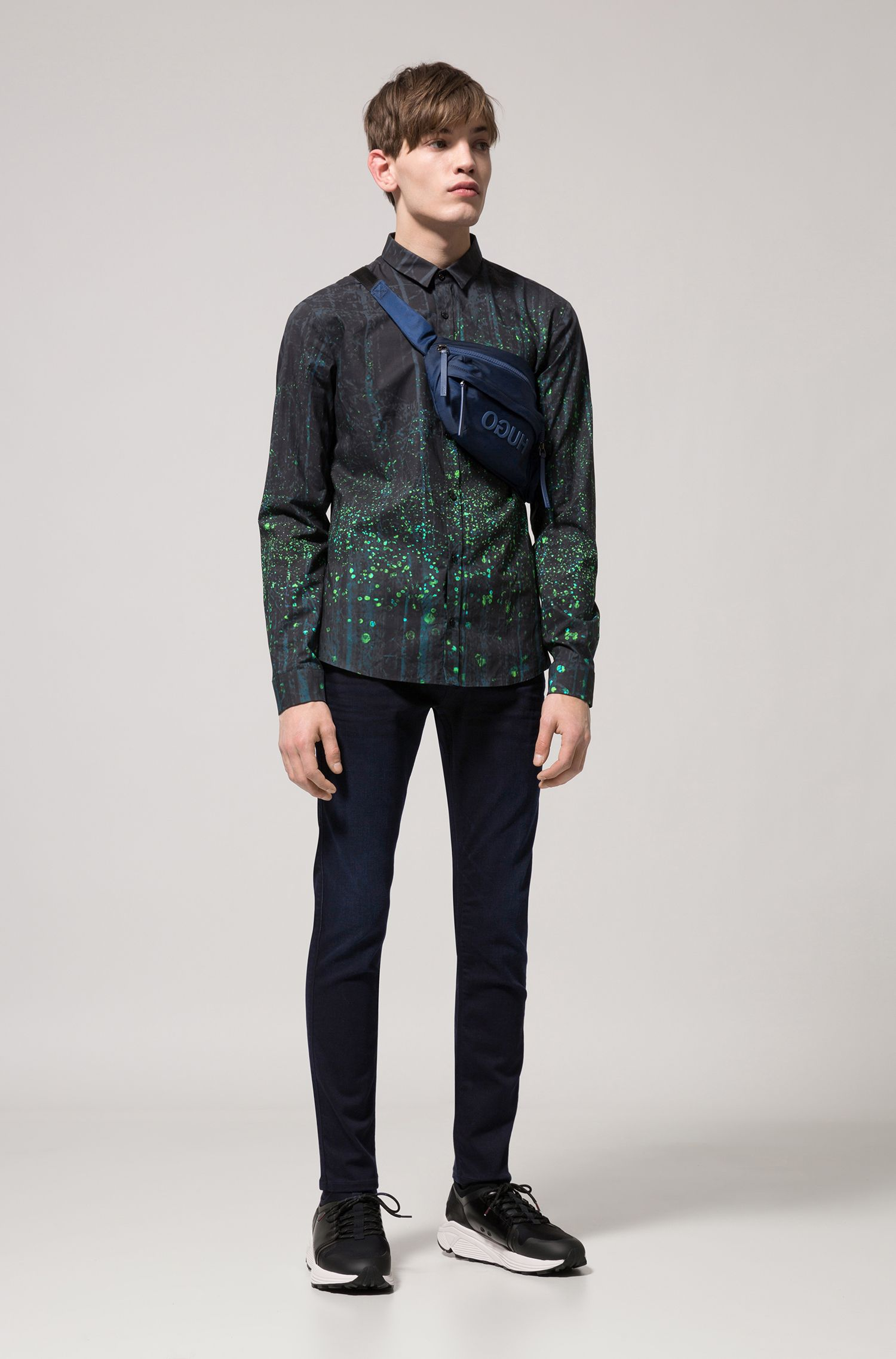 Extra-slim-fit cotton shirt with firefly print, Dark Blue