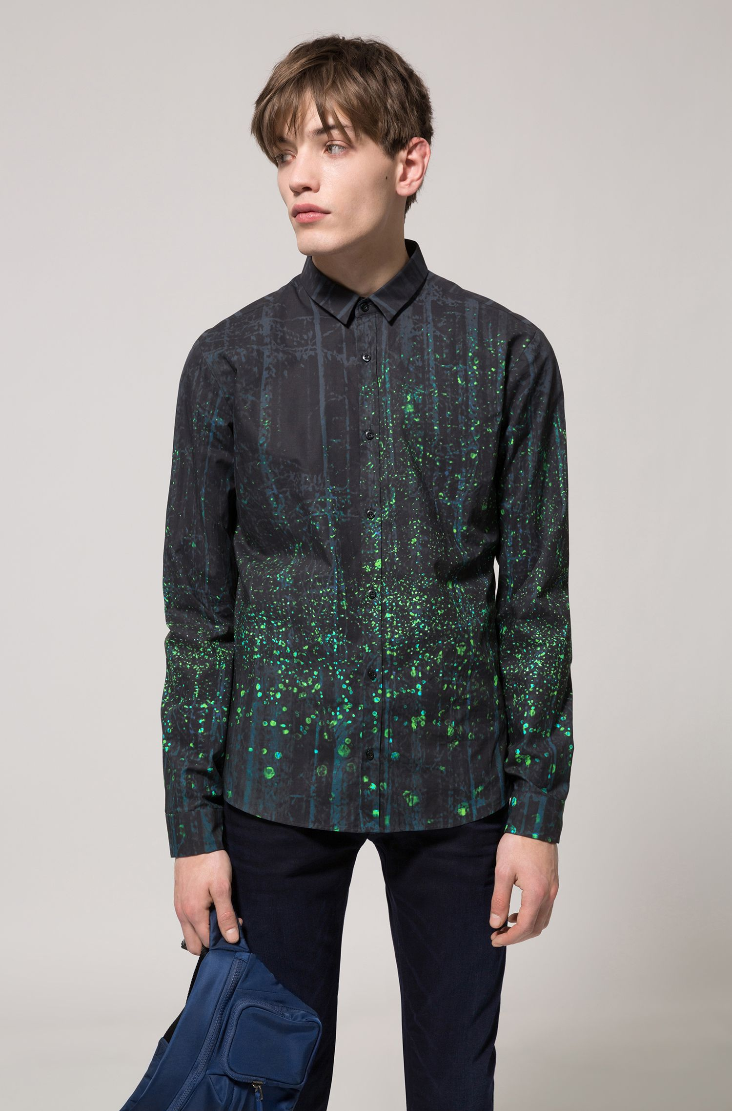 Extra-slim-fit cotton shirt with firefly print