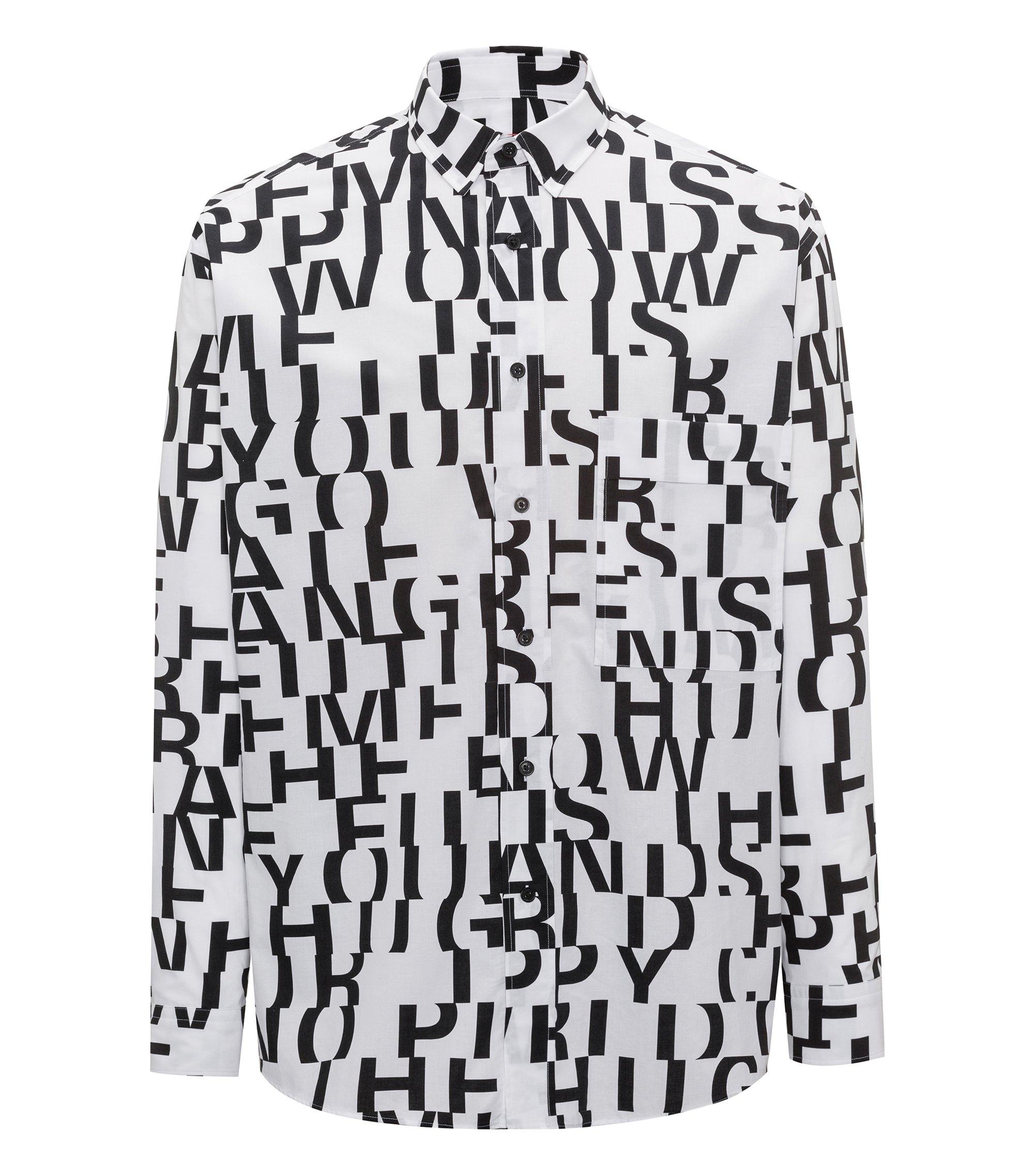 Chemise Relaxed Fit en coton, avec message abstrait, Blanc