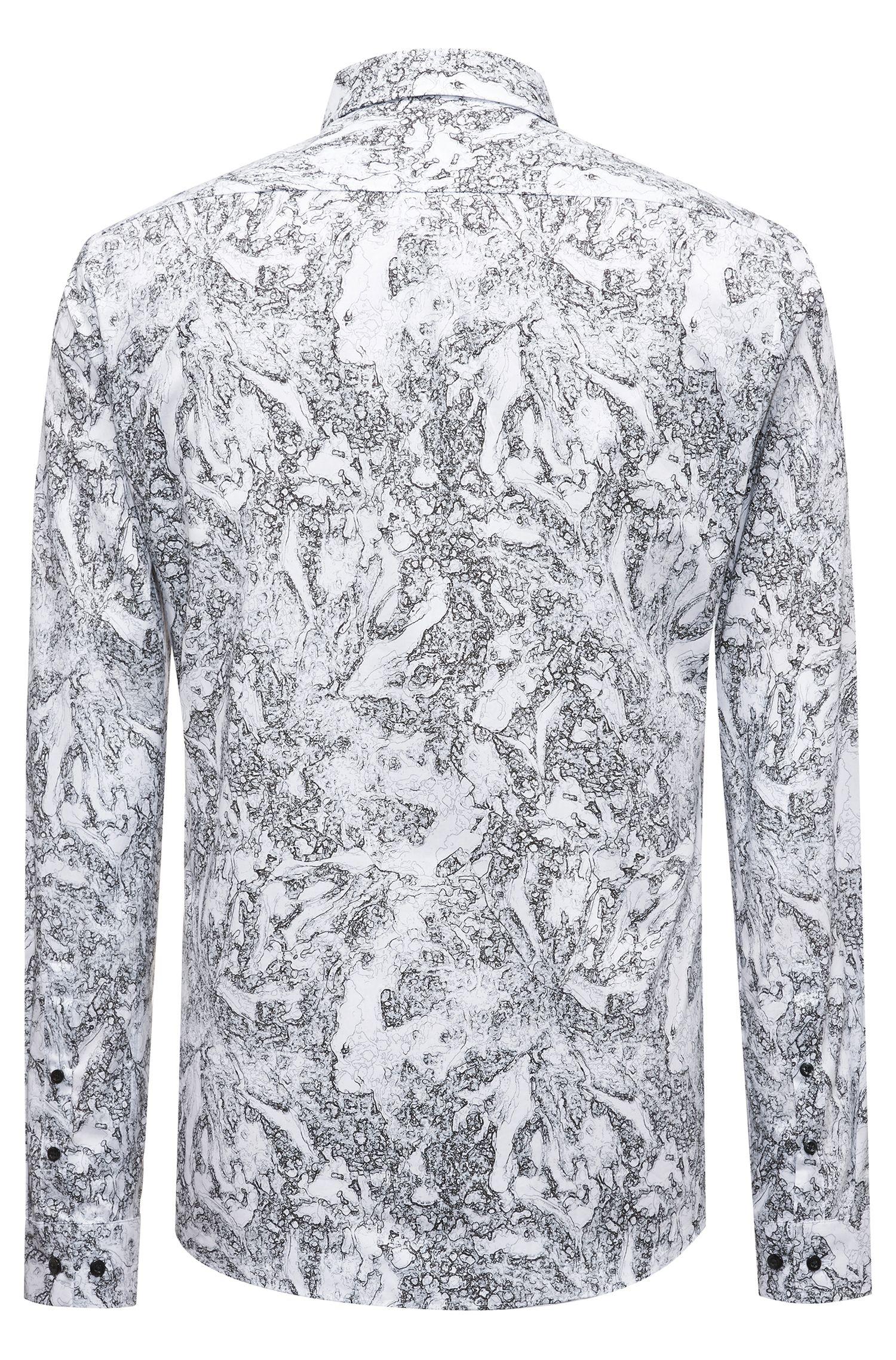 Chemise en coton Extra Slim Fit à imprimé saisonnier, Noir