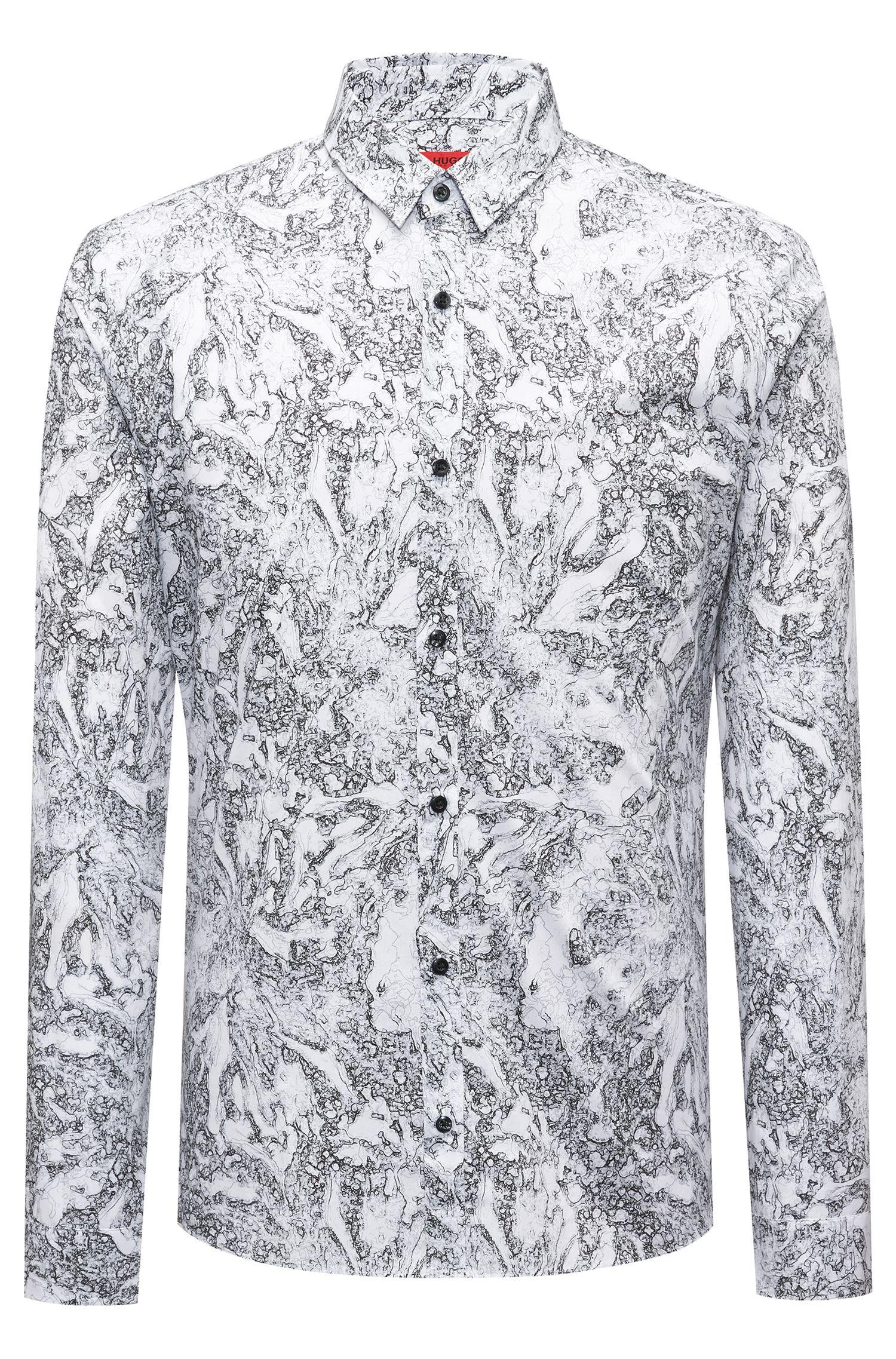 Extra-slim-fit cotton shirt with seasonal print, Black