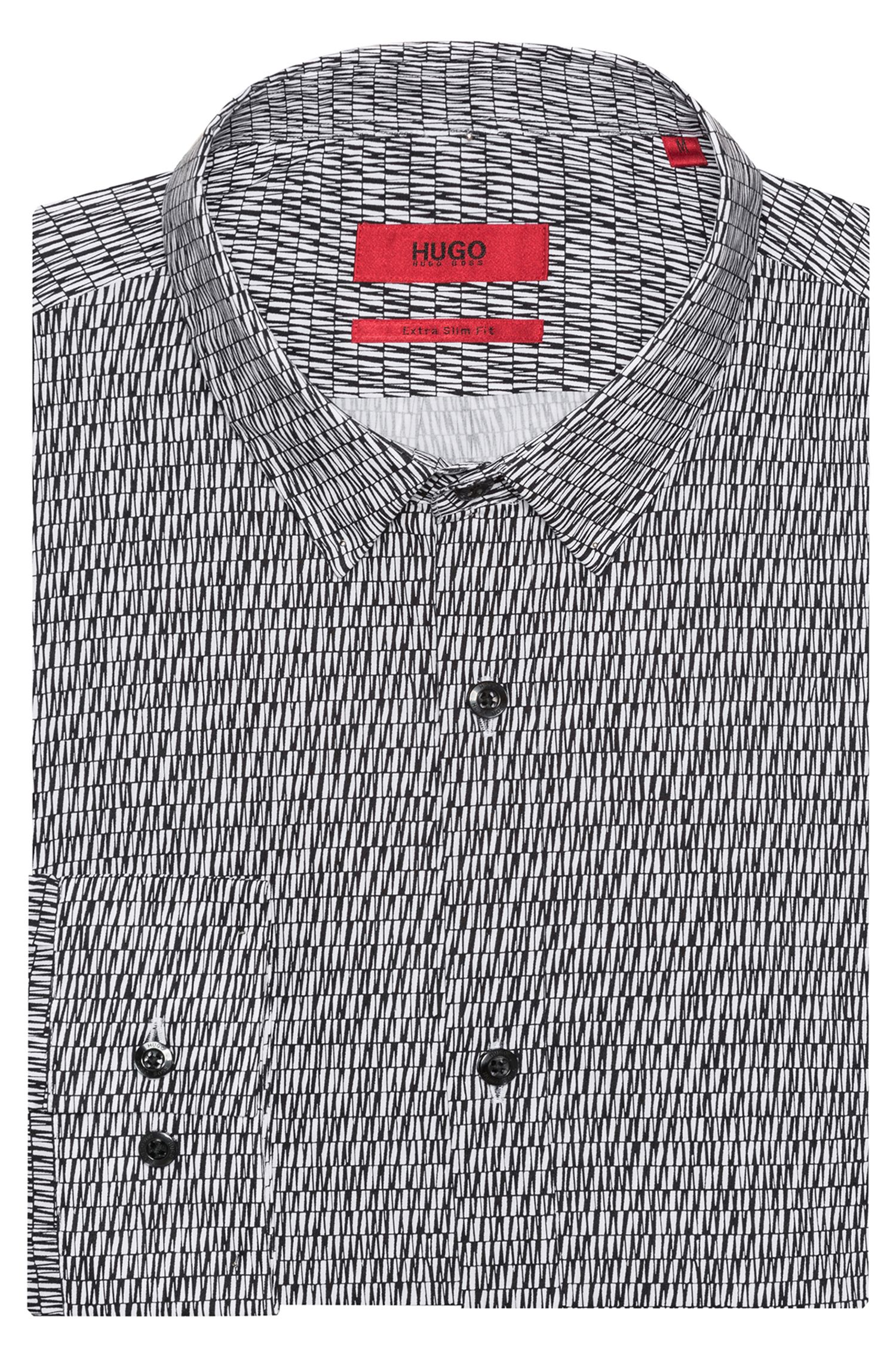 Extra-slim-fit cotton shirt with graphic pigment print