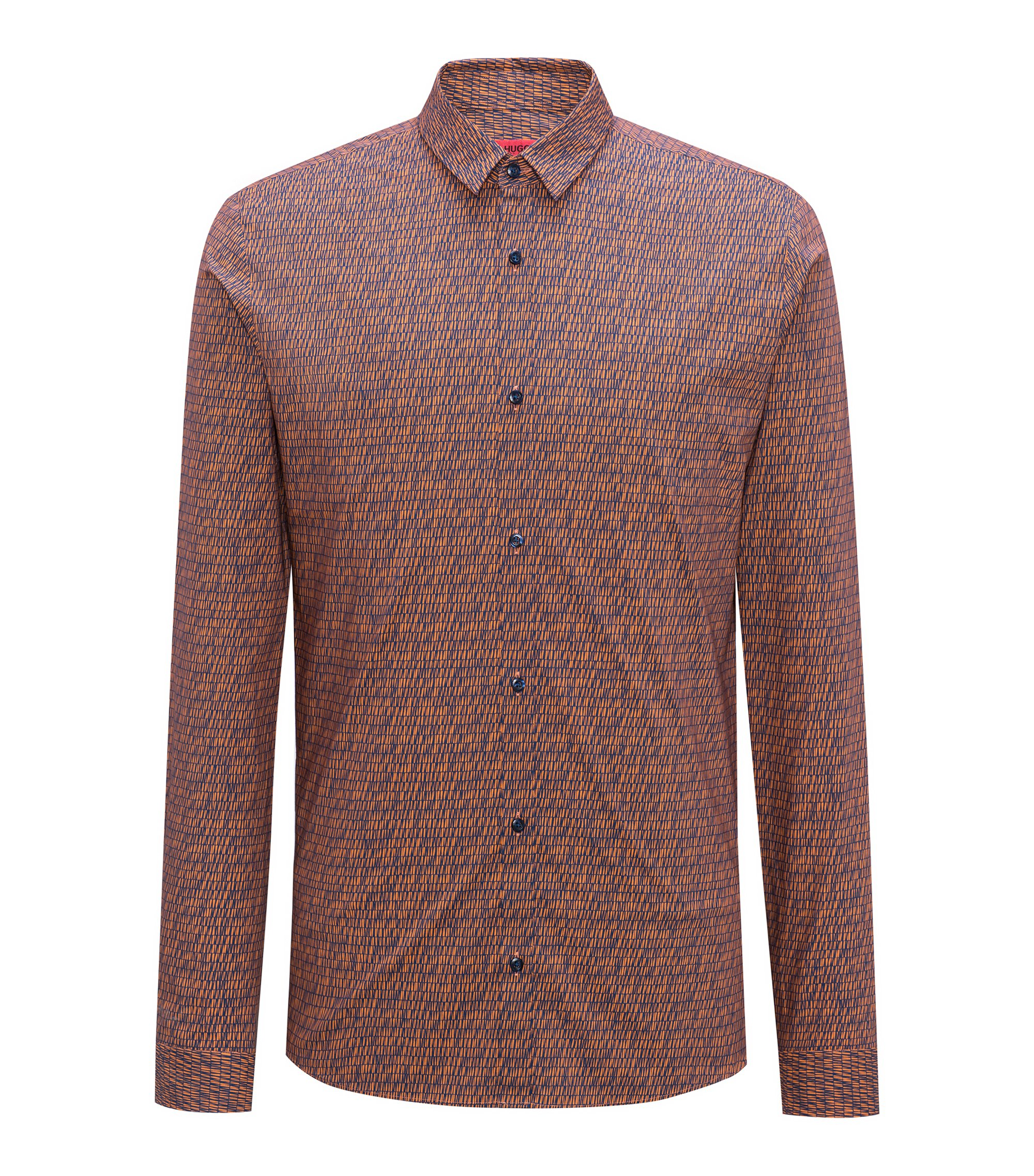 Extra-slim-fit cotton shirt with graphic pigment print, Orange