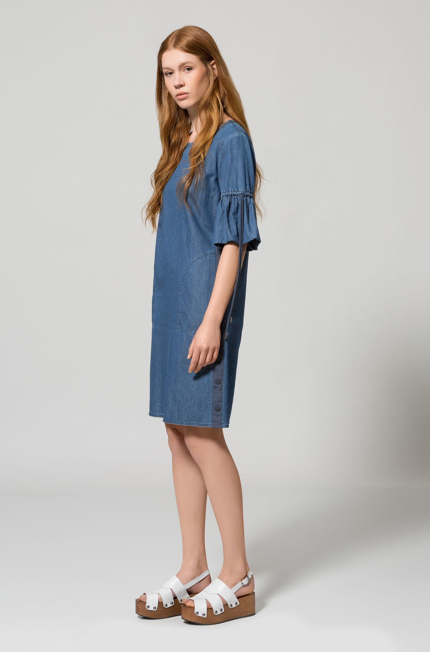 Washed denim dress with gathered sleeves
