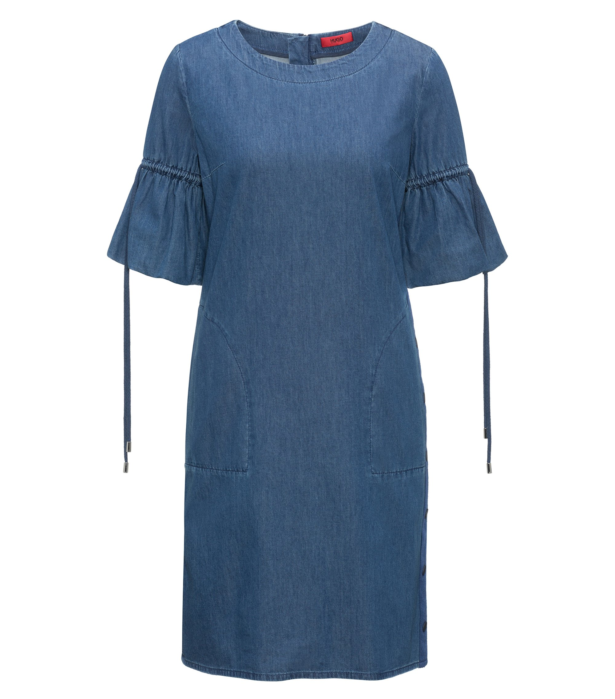 Kleid aus Denim in Washed-Optik mit gerafften Ärmeln, Dunkelblau