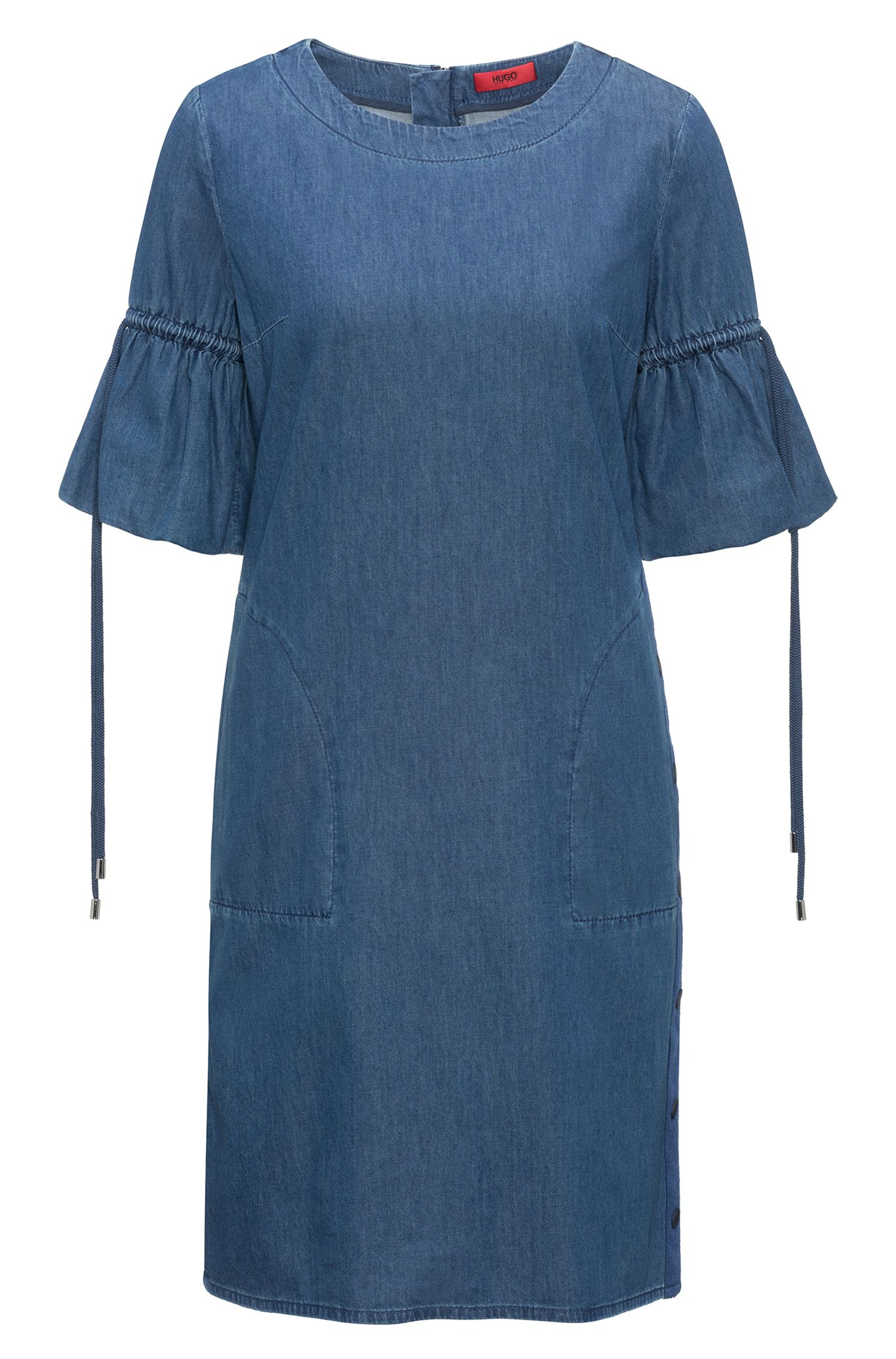 Kleid aus Denim in Washed-Optik mit gerafften Ärmeln