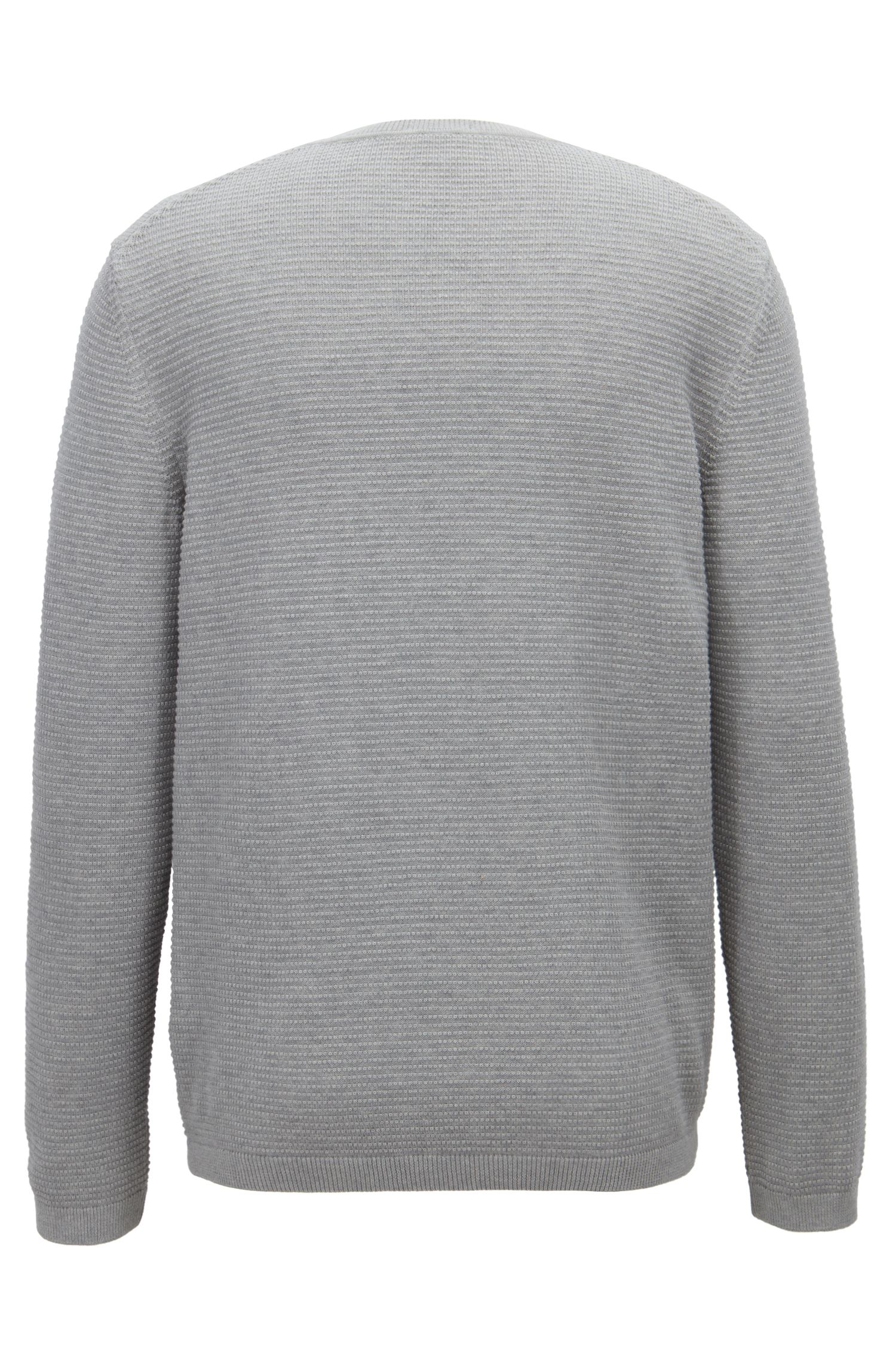 Crew-neck sweater in micro-structured Egyptian cotton BOSS