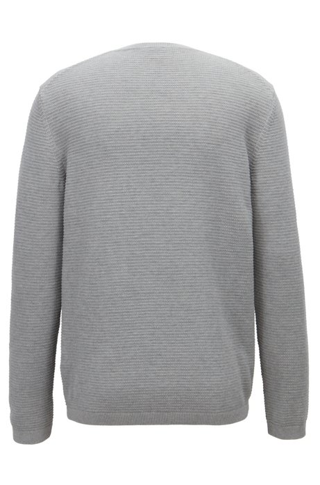 Crew-neck sweater in micro-structured Egyptian cotton BOSS Cheap Shop Low Shipping Sale Online w3ysdQ4j