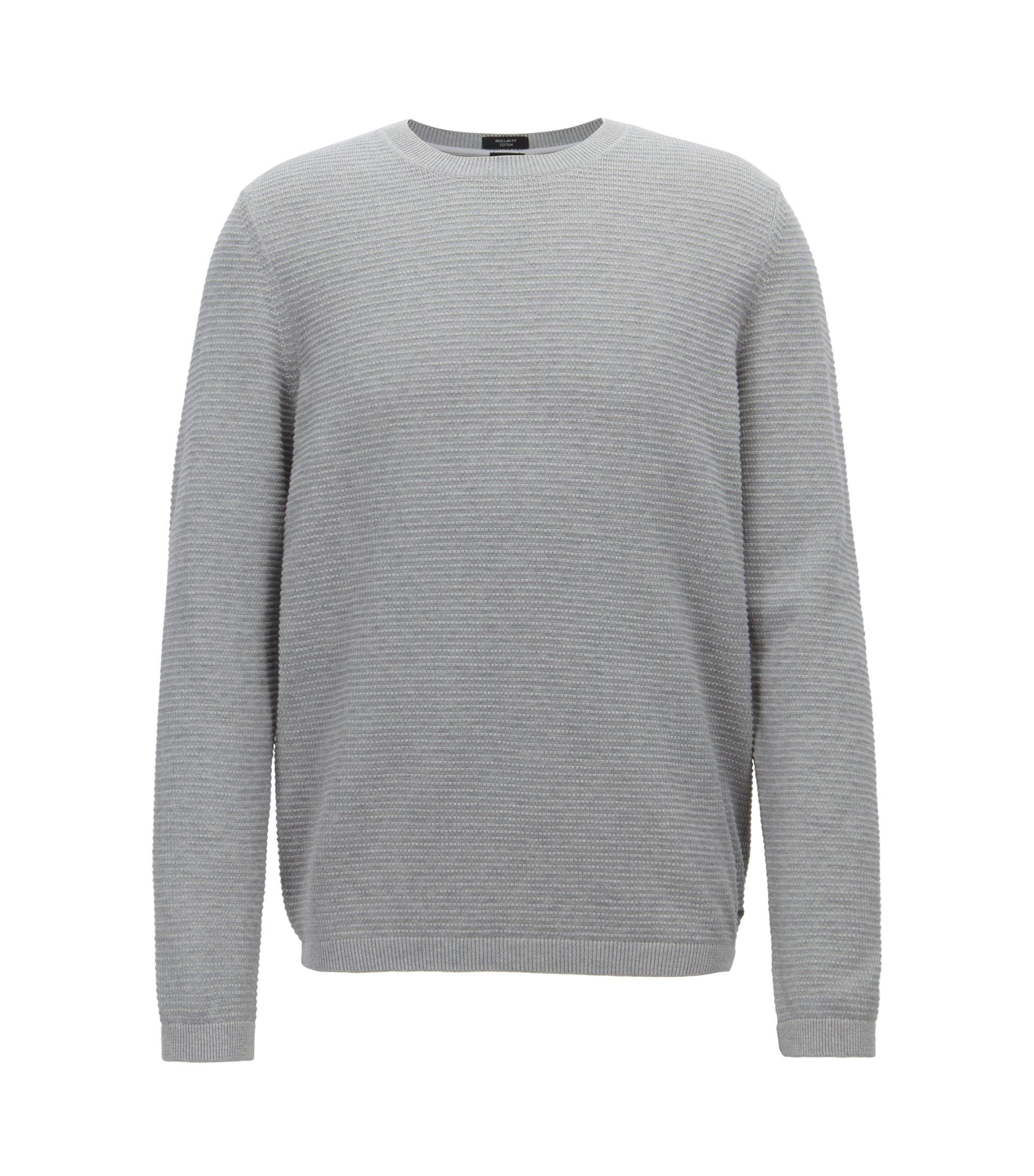 Pullover aus ägyptischer Baumwolle mit filigraner Struktur, Grau