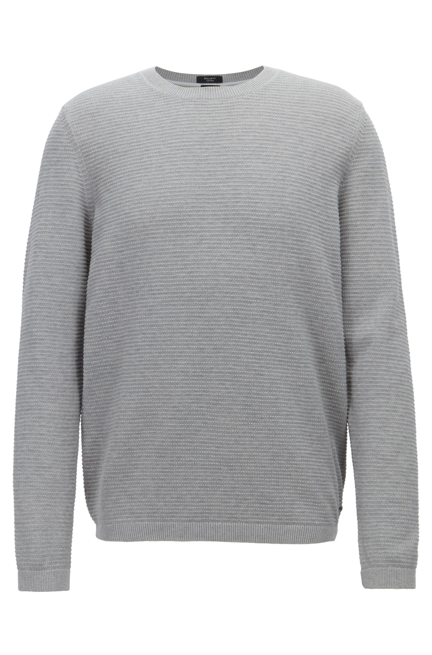 Crew-neck sweater in micro-structured Egyptian cotton, Grey