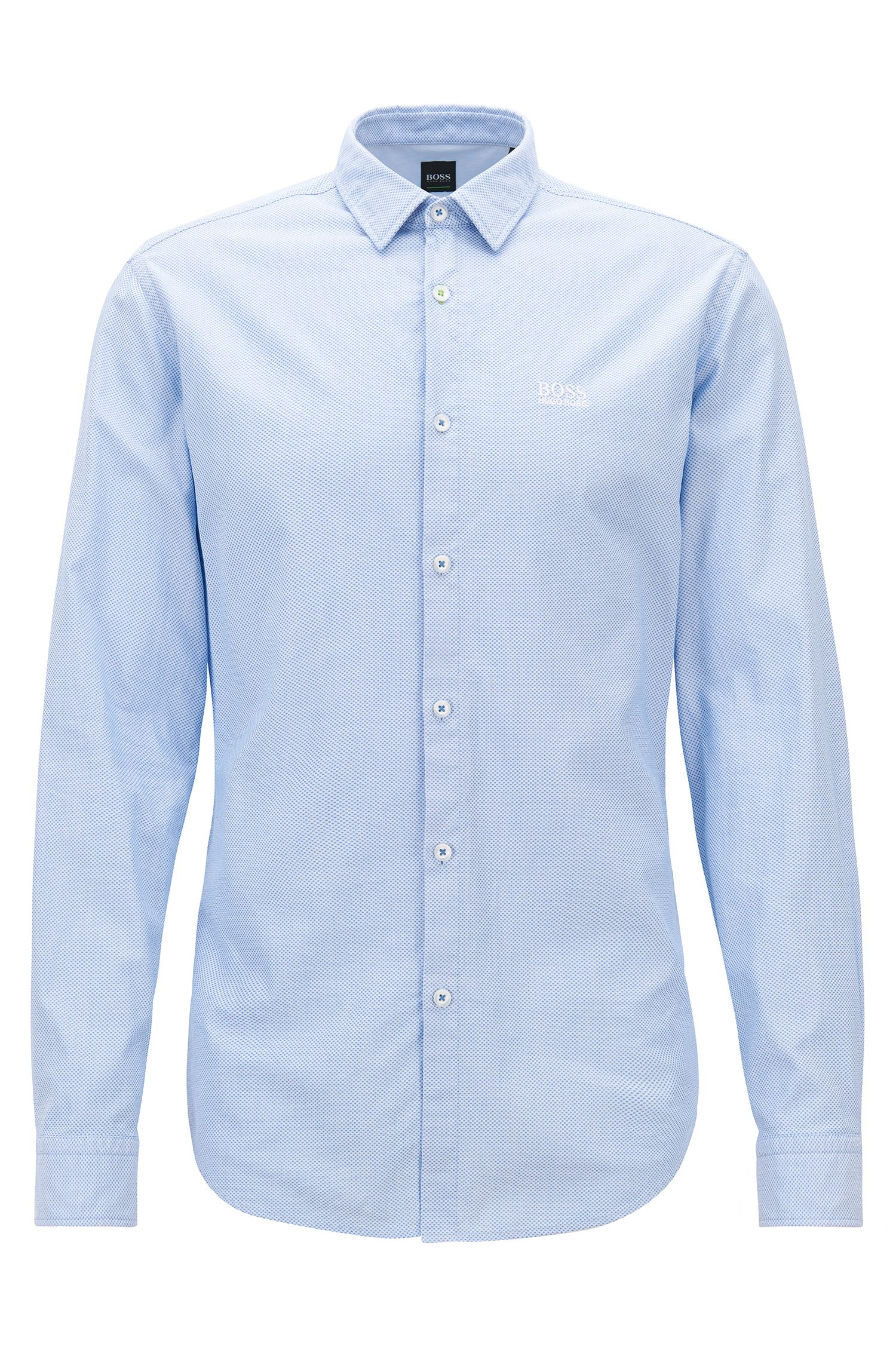Slim-fit shirt in washed dobby cotton