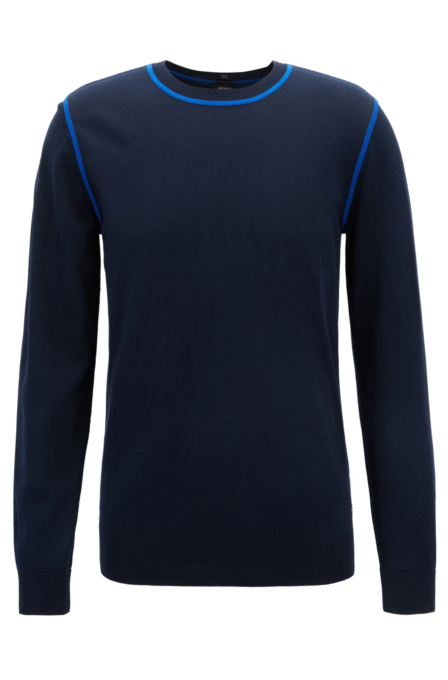 Slim-fit sweater in Egyptian cotton with contrast stitching, Blue
