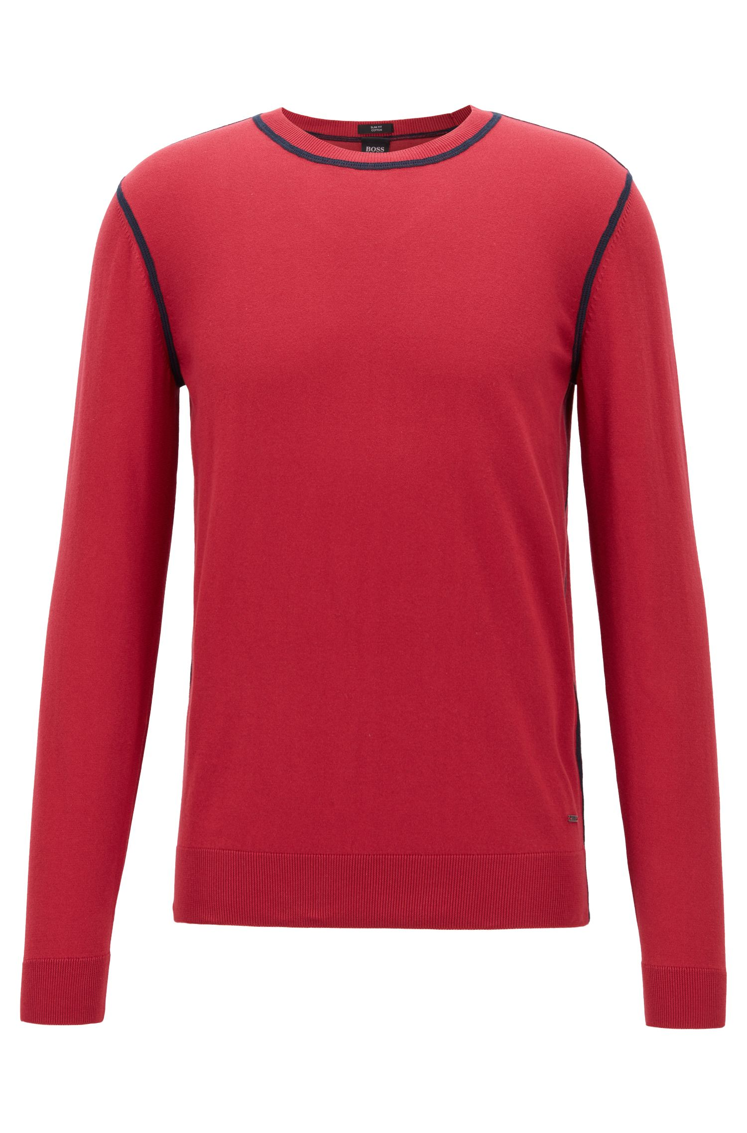 Slim-fit sweater in Egyptian cotton with contrast stitching, Red