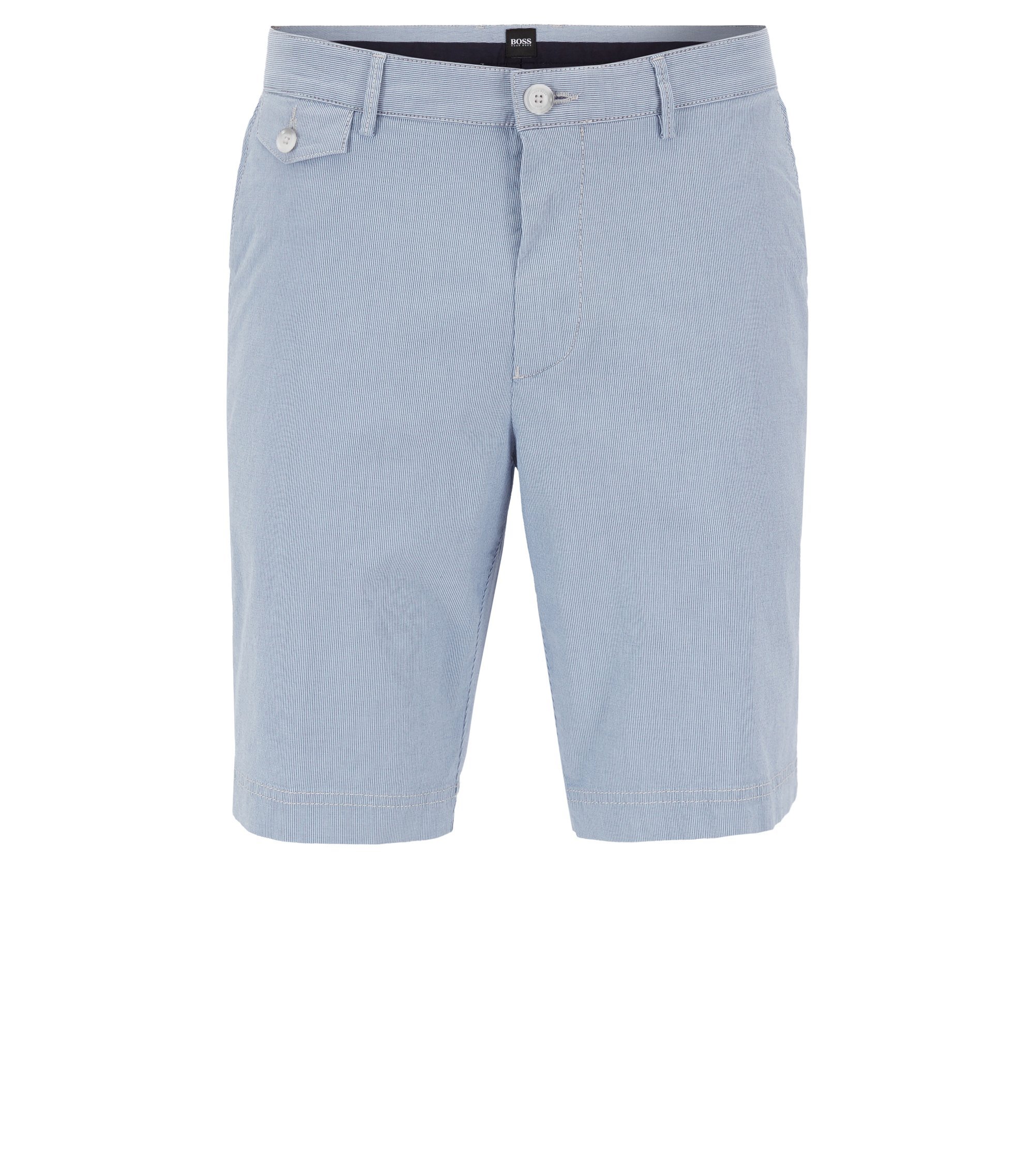 Short Regular Fit en coton stretch à rayures, Bleu foncé