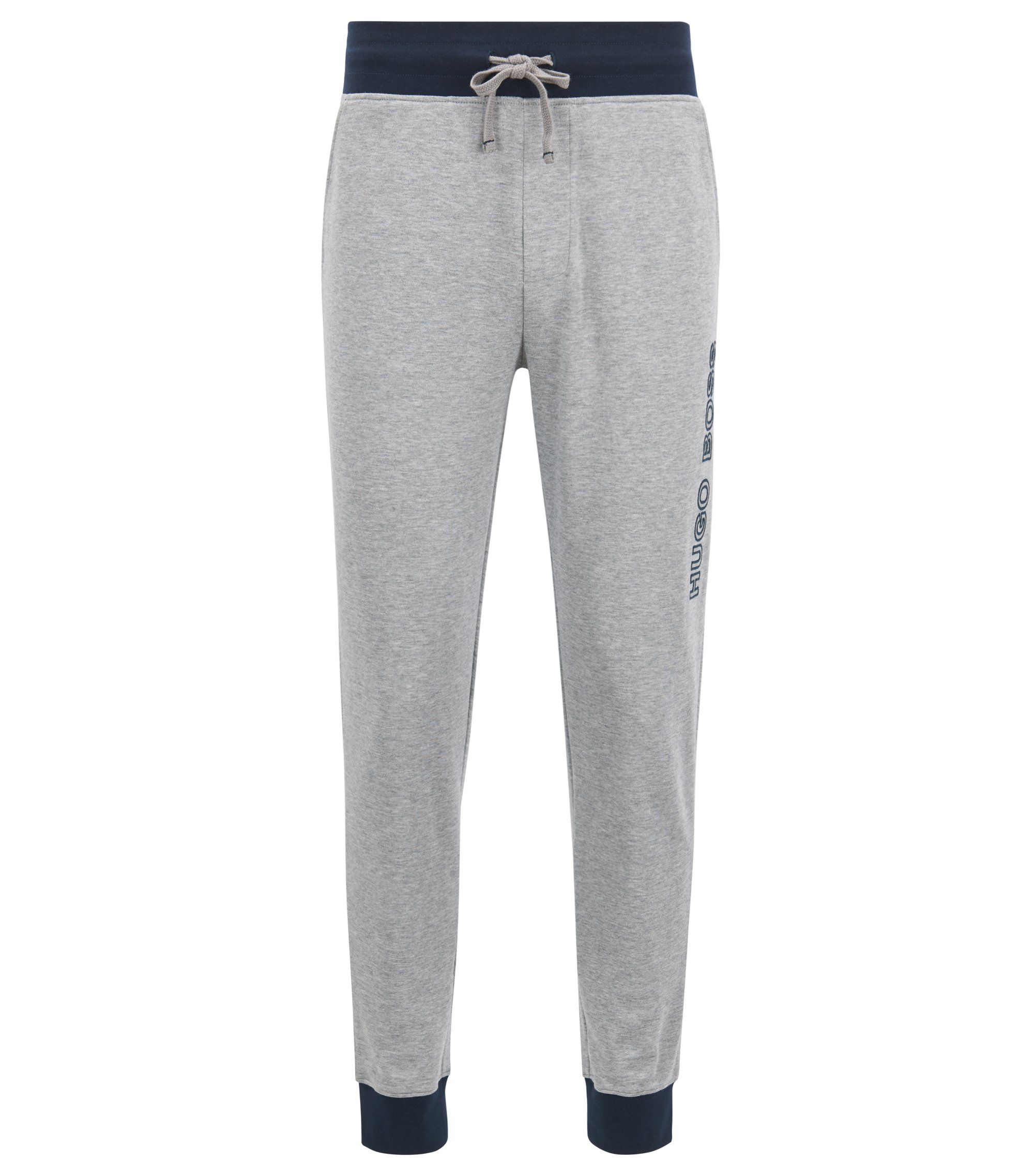 Cuffed jogging bottoms in cotton with contrast details, Grey