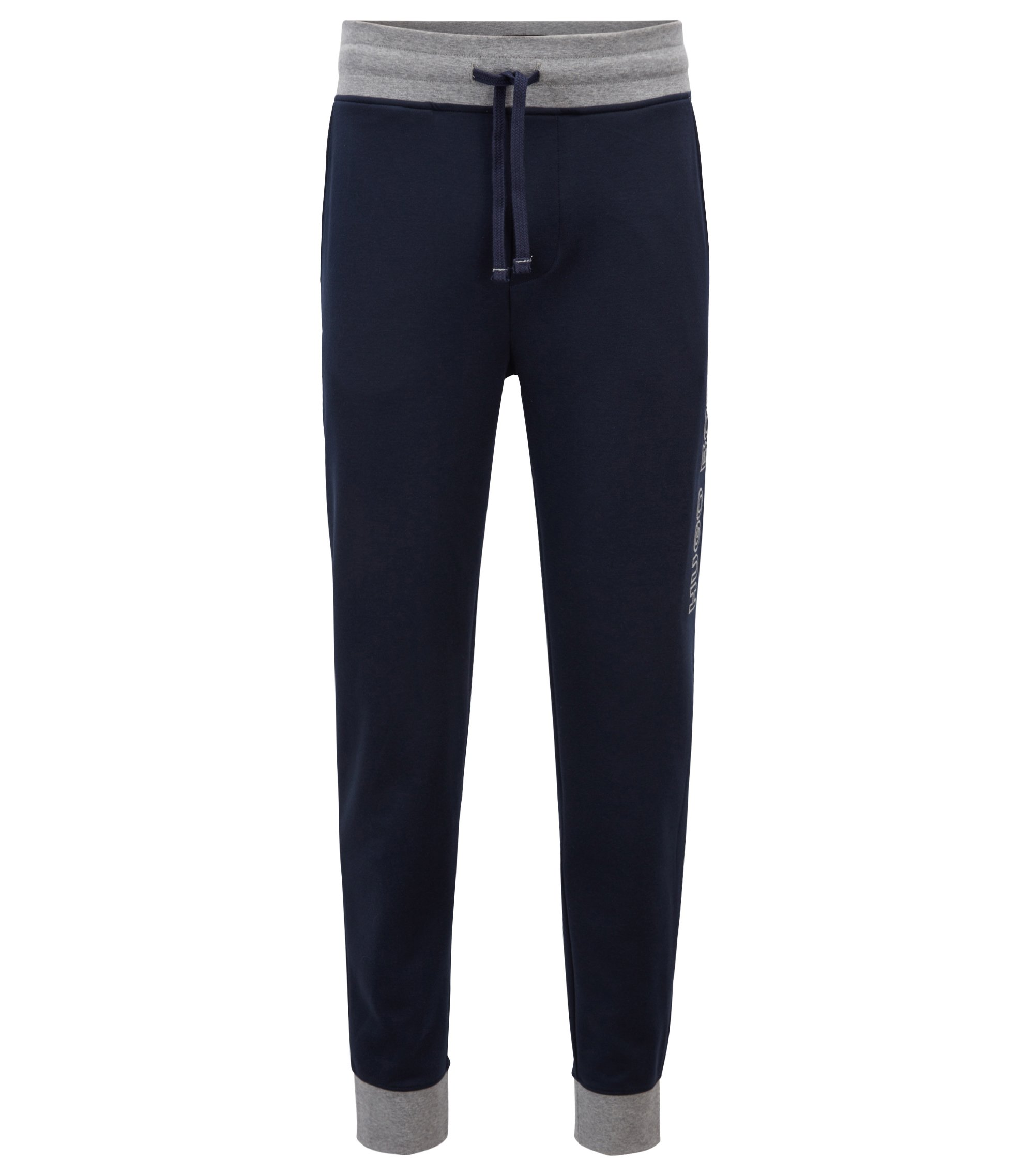 Cuffed jogging bottoms in cotton with contrast details, Dark Blue