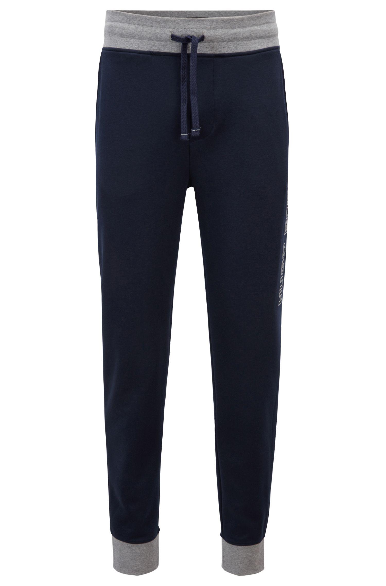 Pantaloni da jogging con fondo gamba elastico in cotone con dettagli a contrasto, Blu scuro