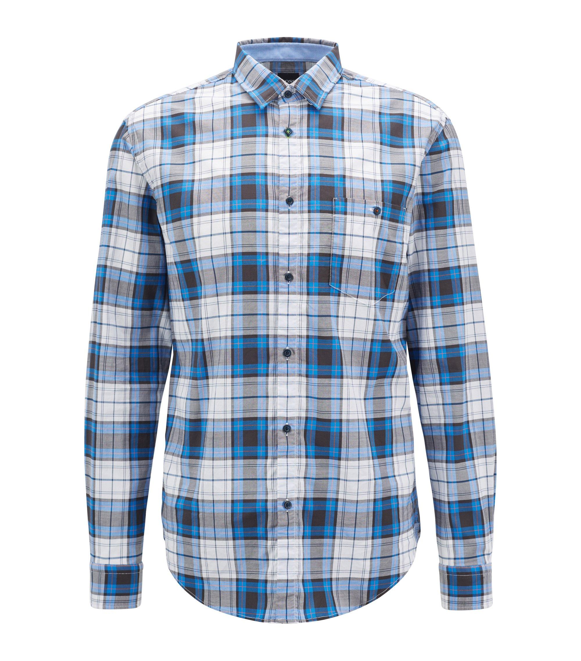Camicia a quadri in cotone oxford elasticizzato con sistema di gestione dell'umidità, Blu
