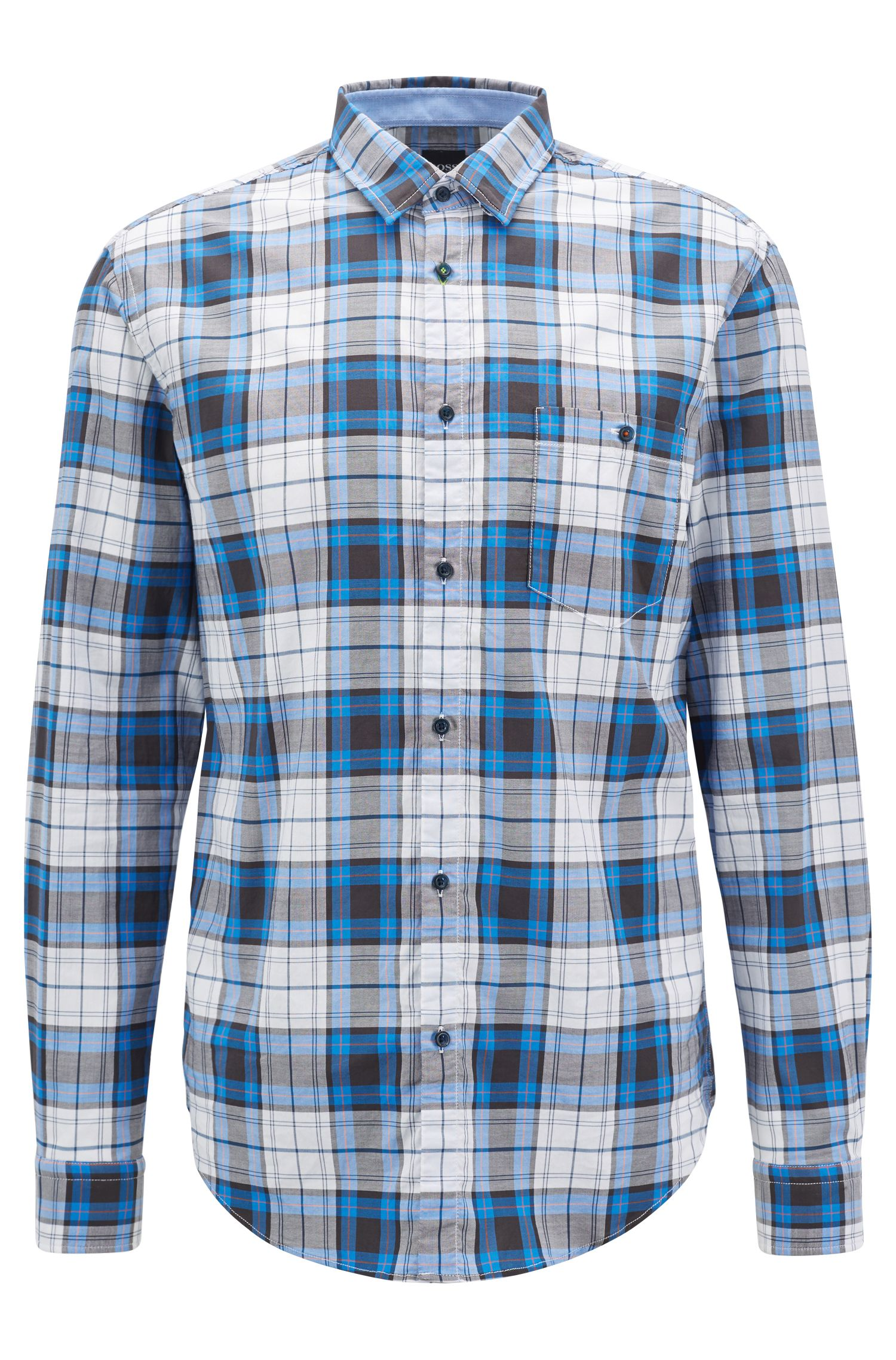 Checked shirt in stretch Oxford cotton with moisture management, Blue