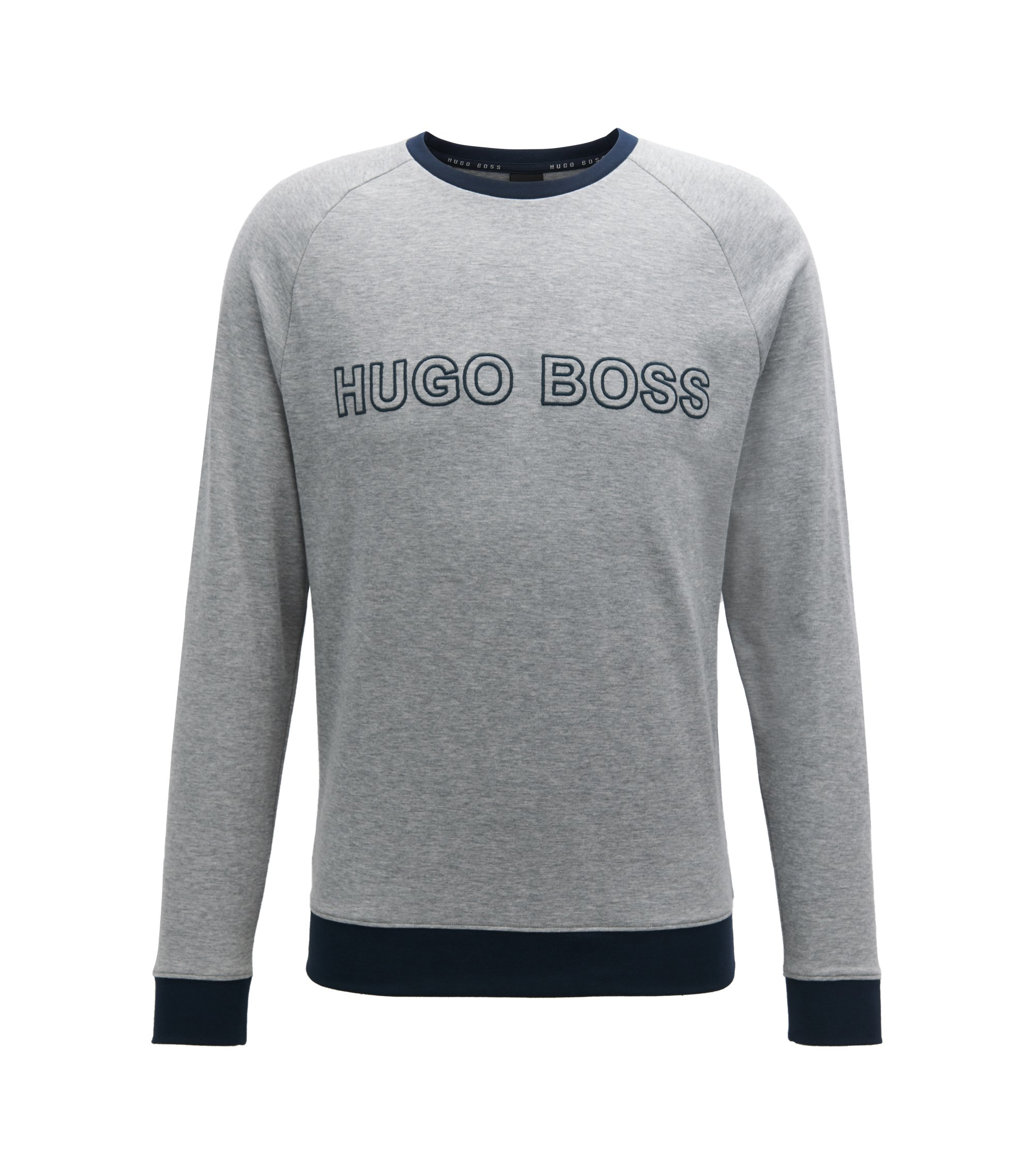 Cotton sweatshirt with contrast hems and embroidered logo, Grey