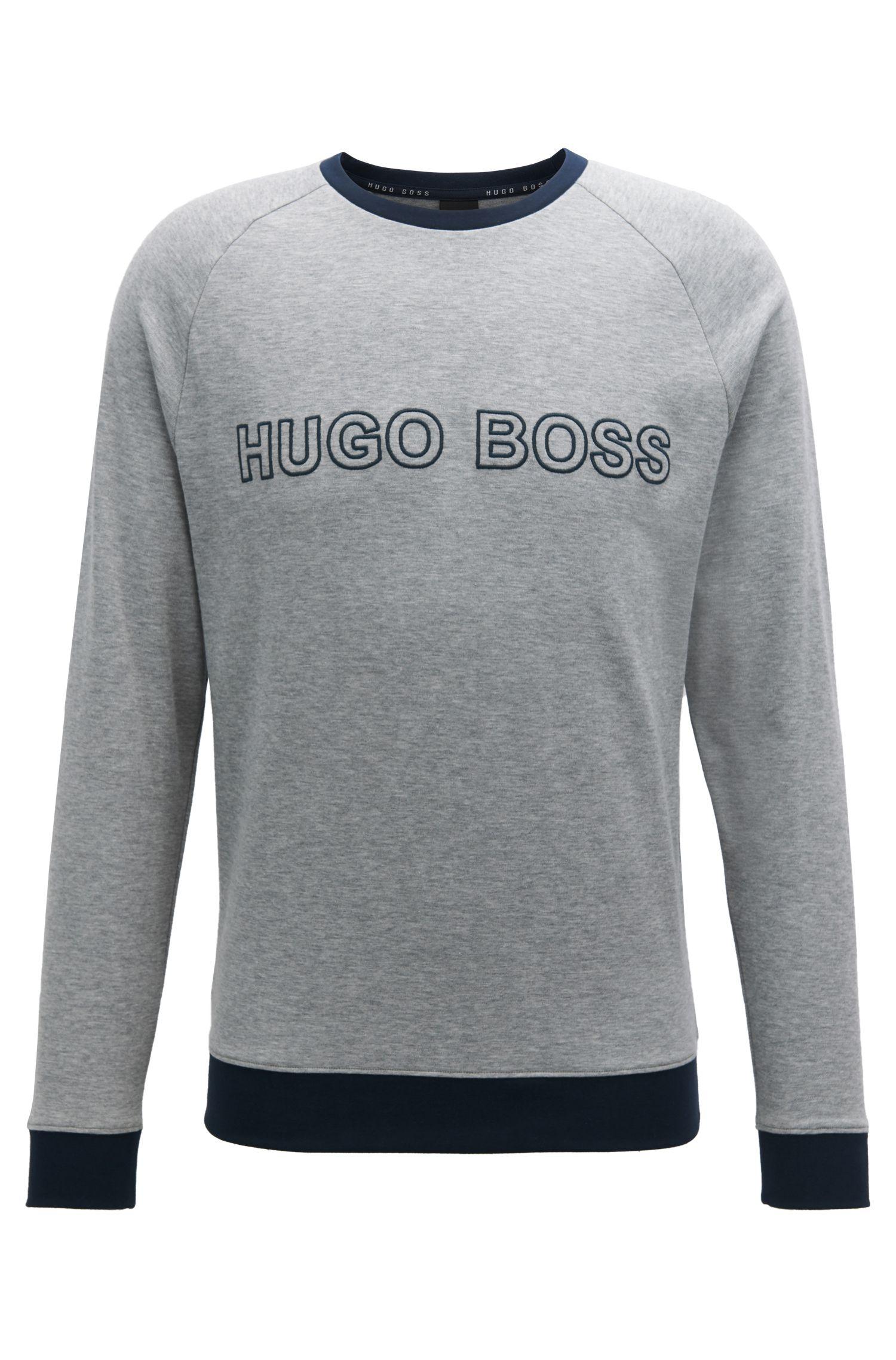 Sweater van katoen met contrastzomen en logostiksel, Grijs