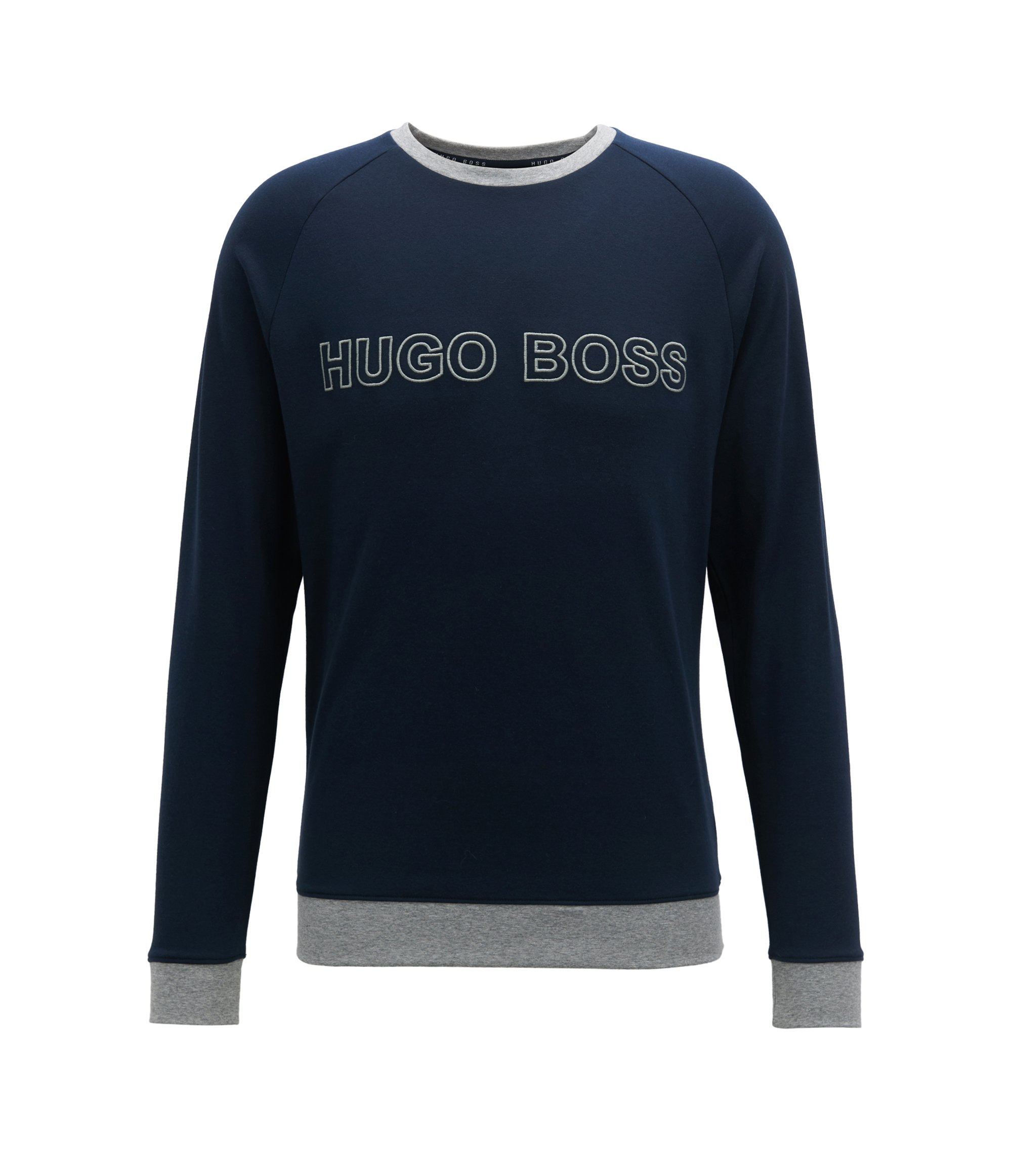 Cotton sweatshirt with contrast hems and embroidered logo, Dark Blue