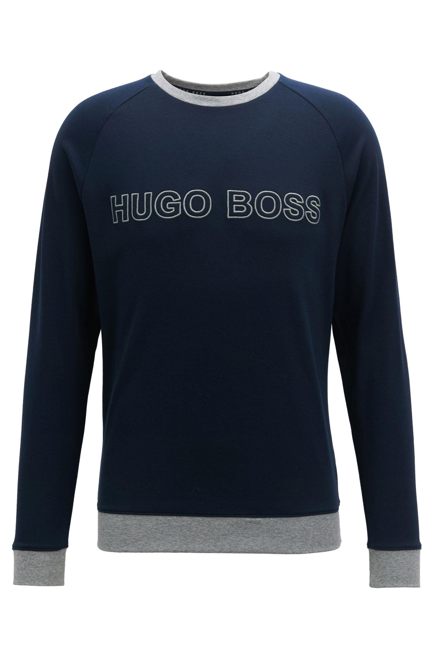 Sweatshirt aus Baumwolle mit kontrastfarbenen Abschlüssen und Logo-Stickerei, Dunkelblau