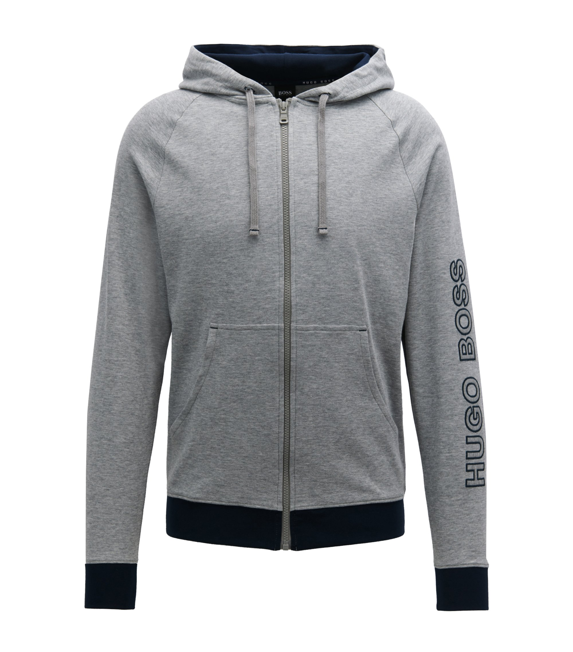 Hooded jacket in cotton with logo-embroidered sleeve, Grey