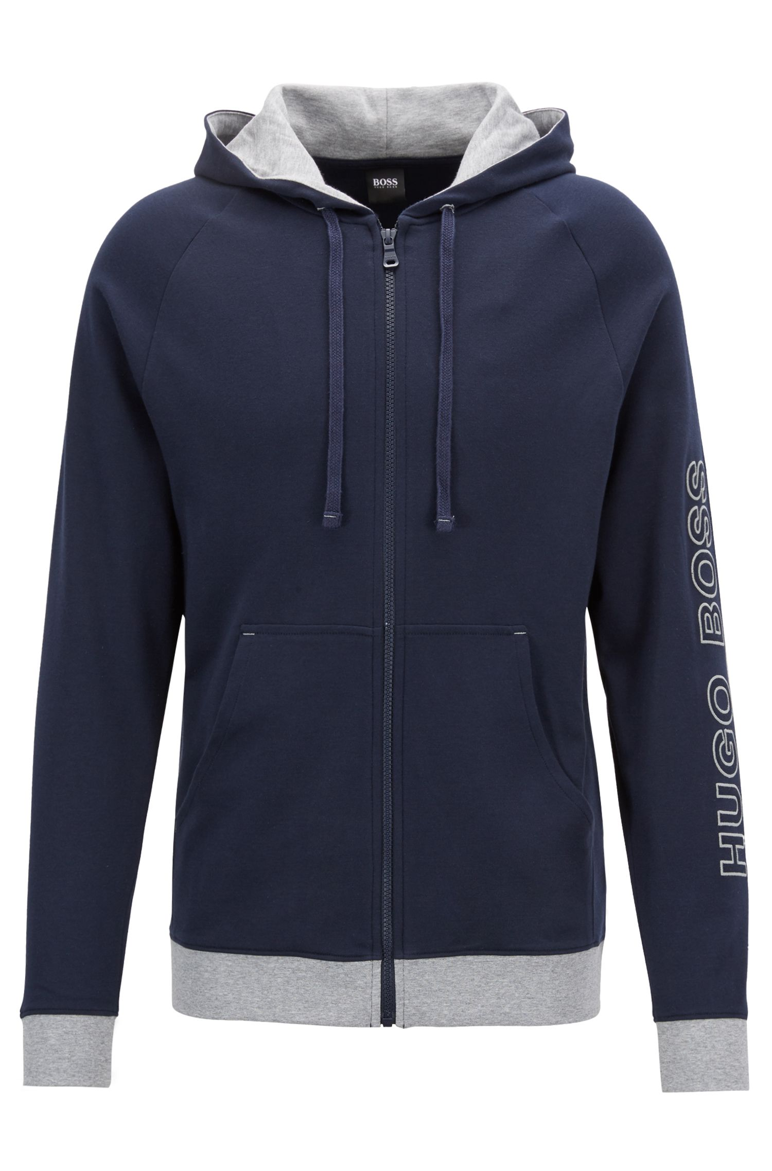 Hooded jacket in cotton with logo-embroidered sleeve, Dark Blue