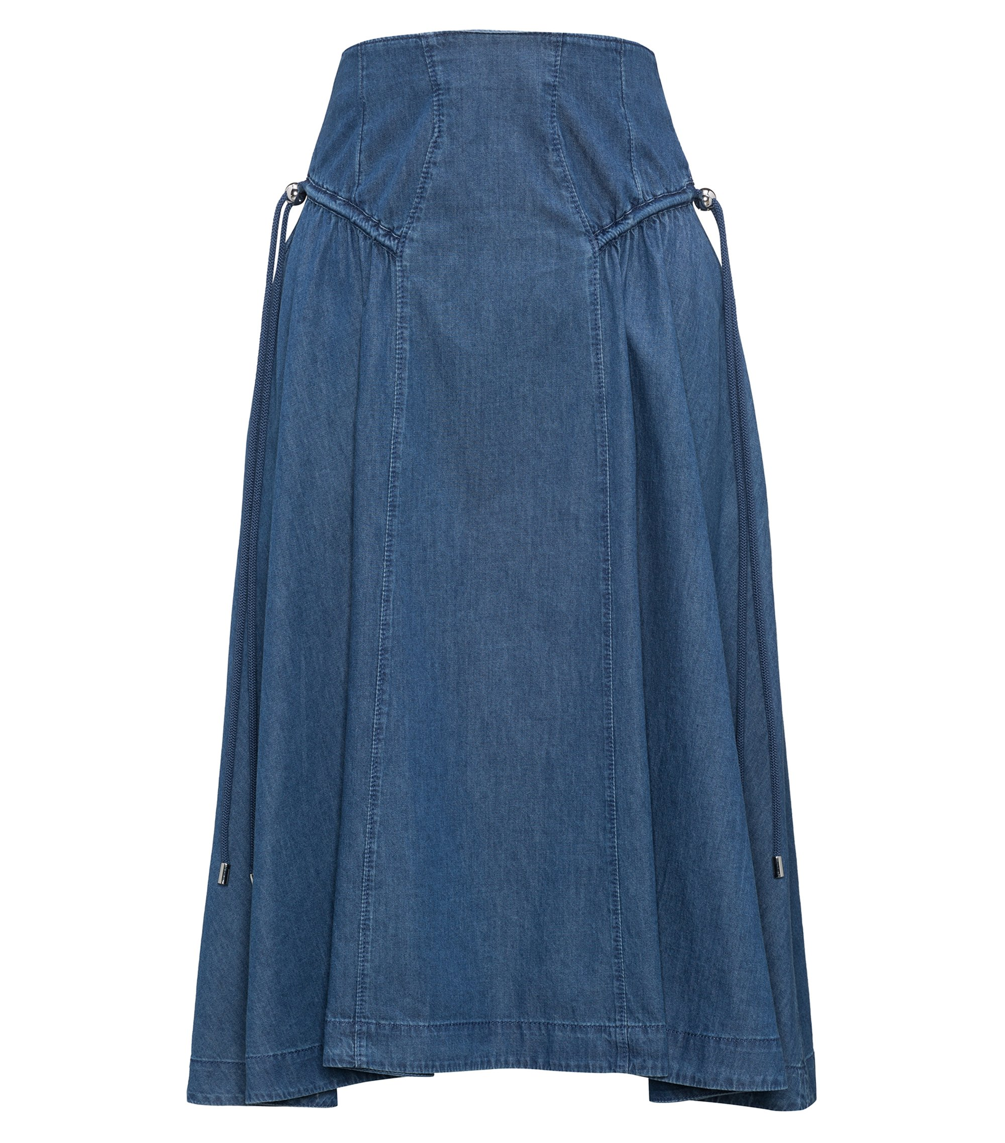 Washed denim A-line skirt with gathered details, Dark Blue