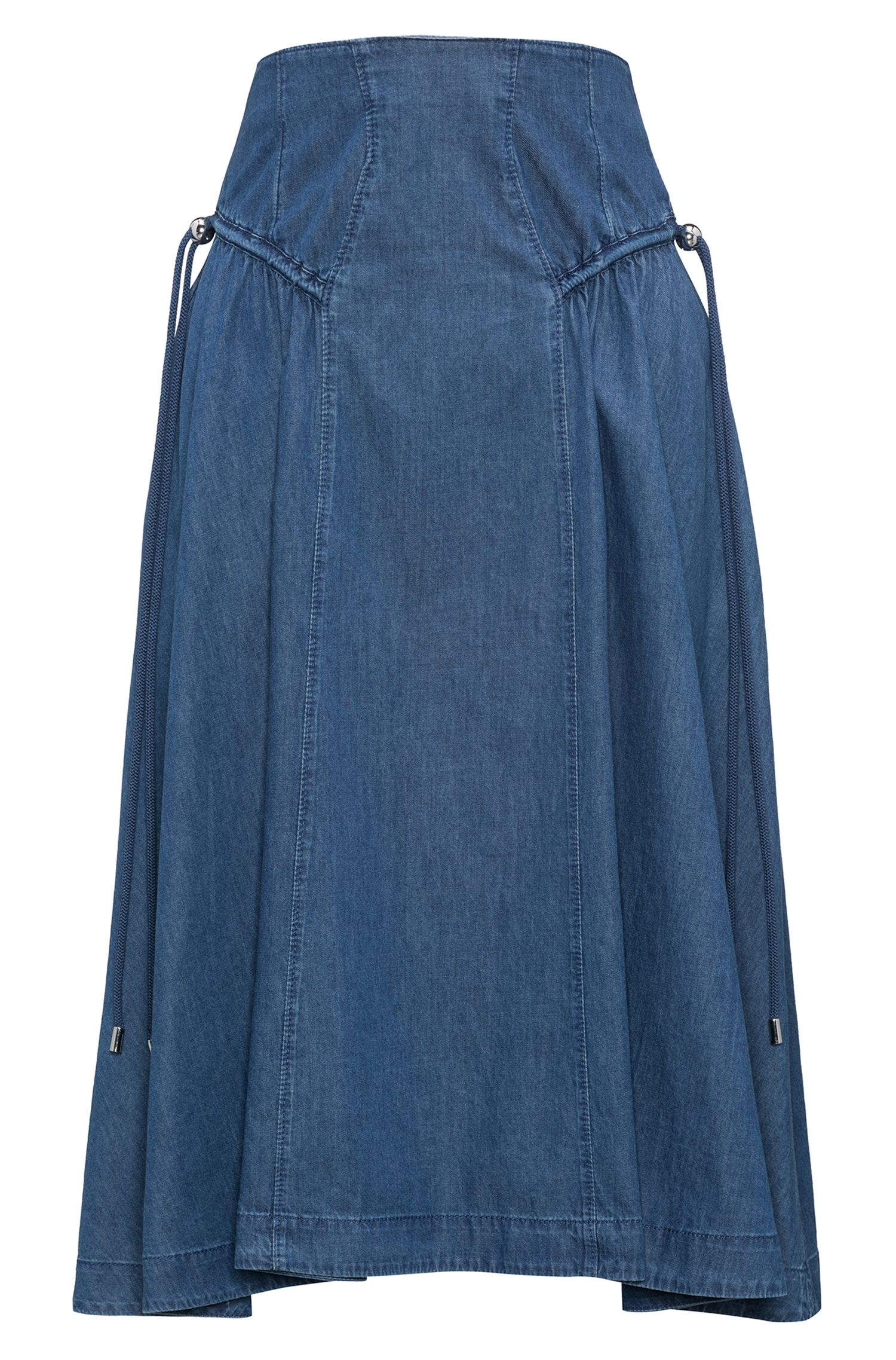 Washed denim A-line skirt with gathered details