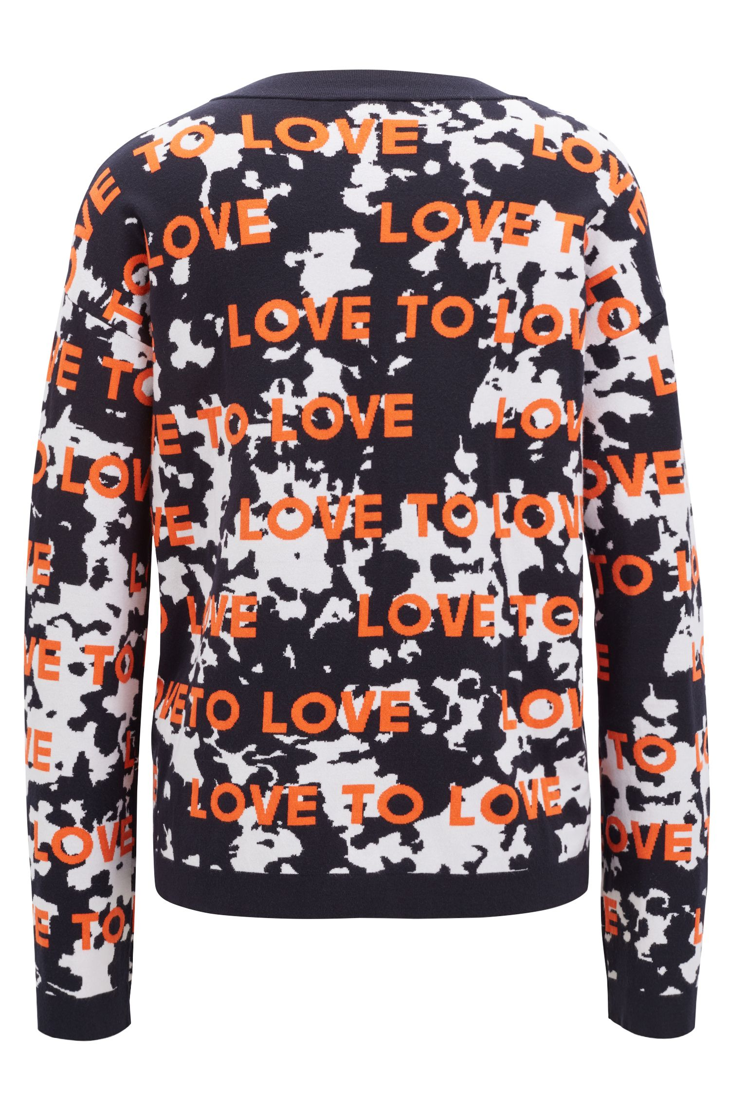 Relaxed-fit sweater with jacquard-knitted slogan, Patterned