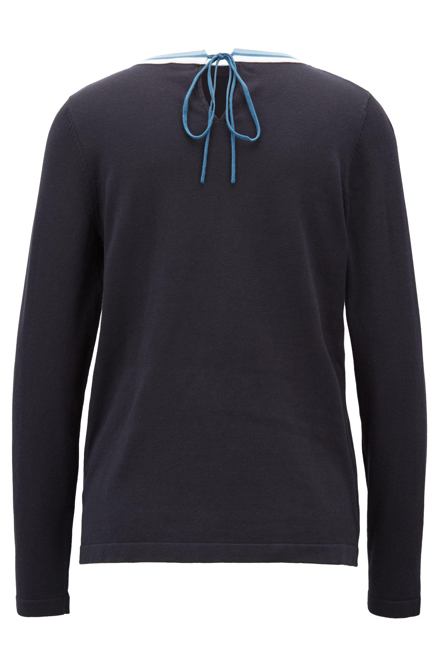 Cotton-blend sweater with striped crew neck, Dark Blue