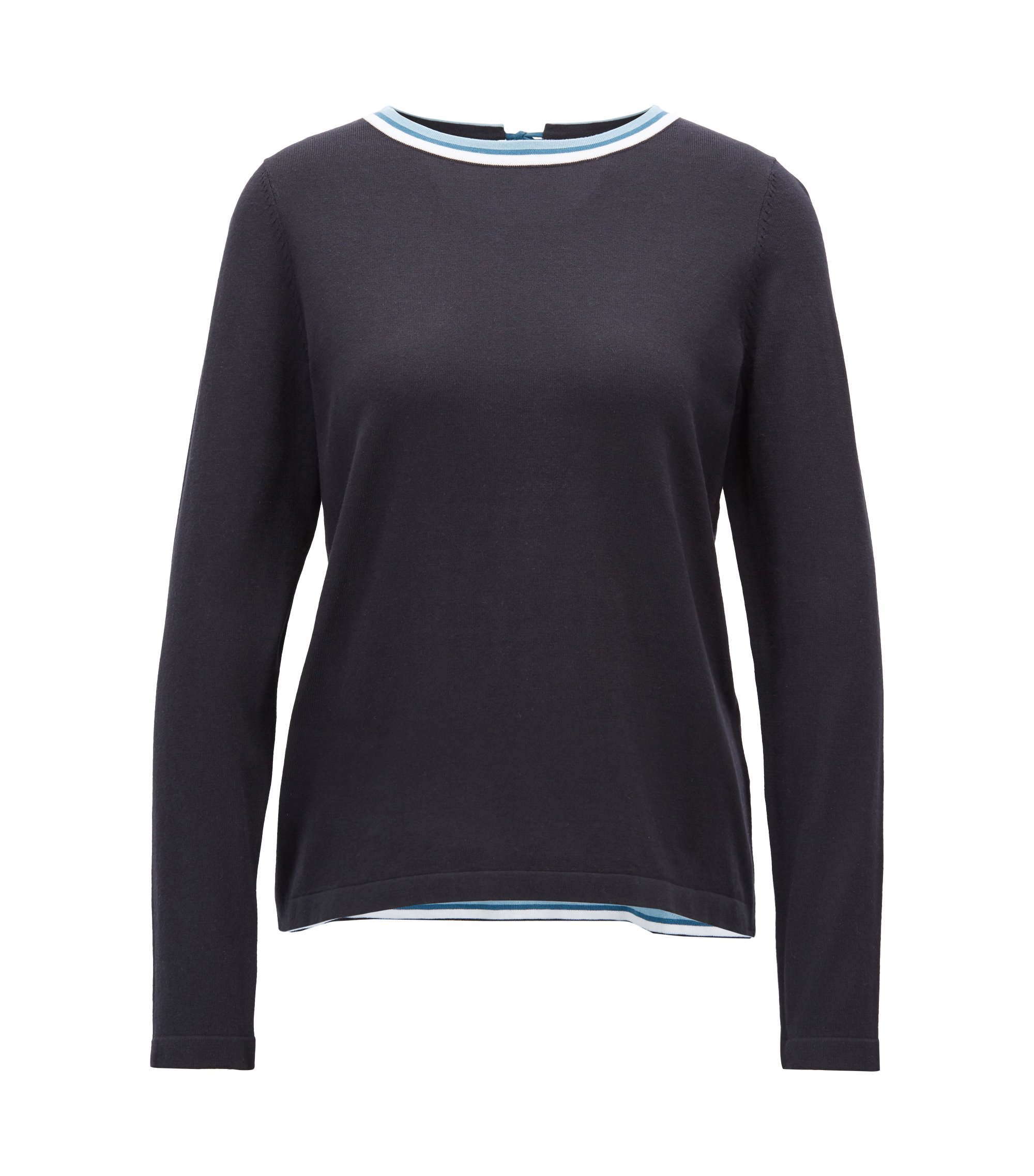 Cotton-blend sweater with striped crew neck, Dark Blue