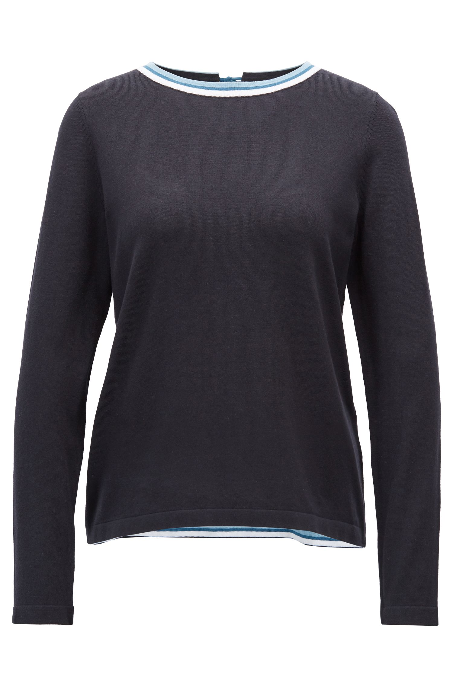 Cotton-blend sweater with striped crew neck