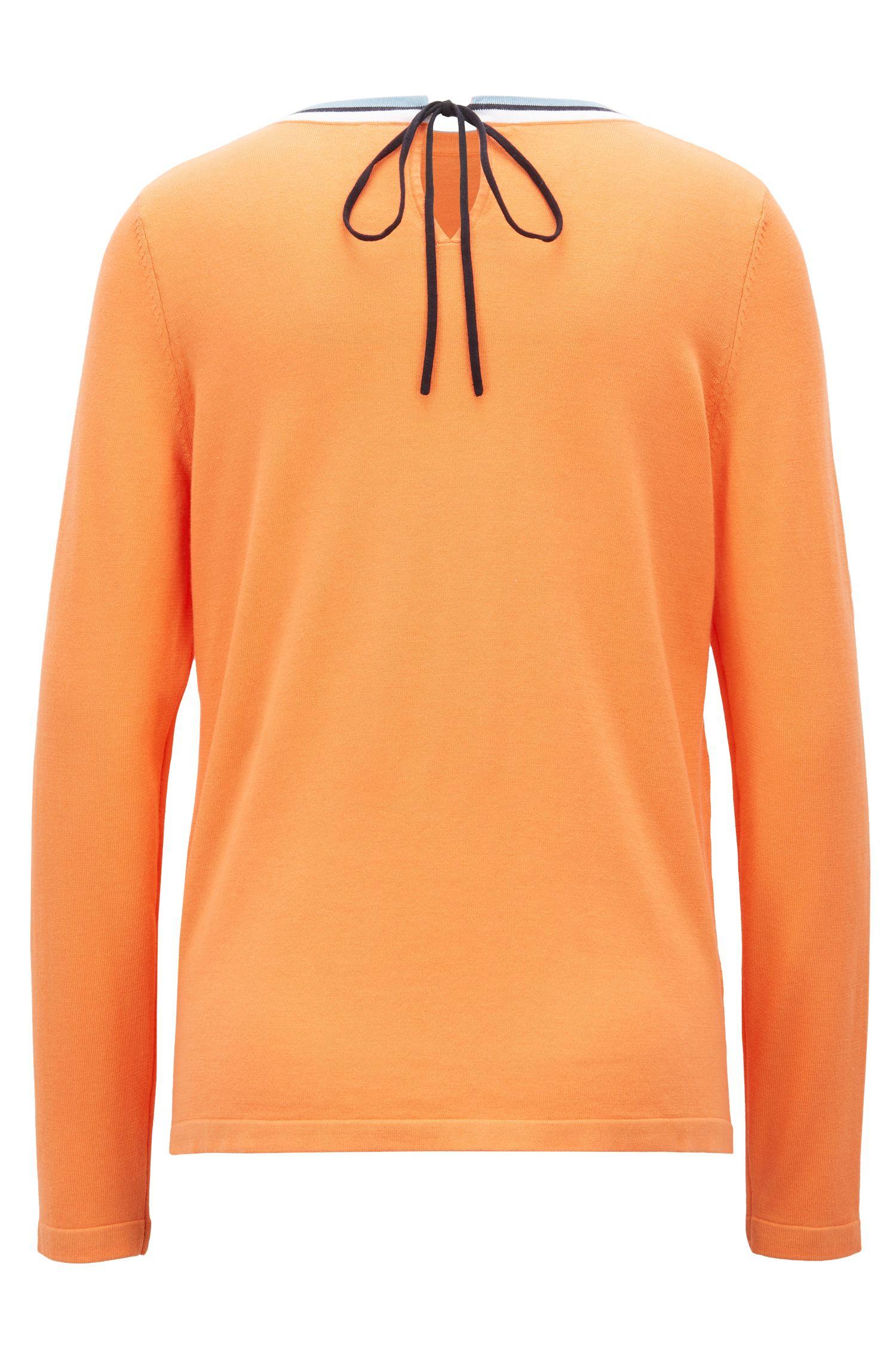Cotton-blend sweater with striped crew neck, Orange