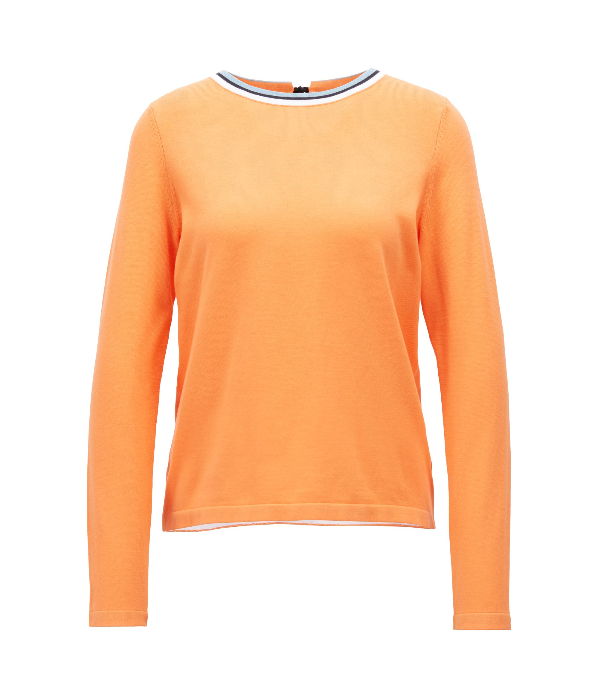 Cotton-blend sweater with striped crew neck, Orange