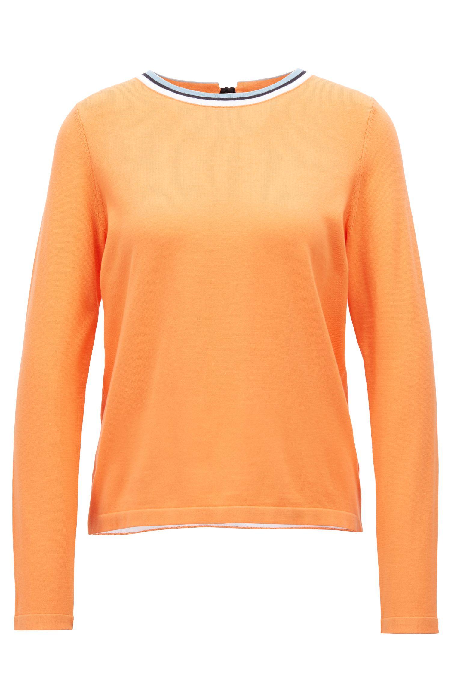 Maglione in misto cotone con scollatura a girocollo a righe, Arancione