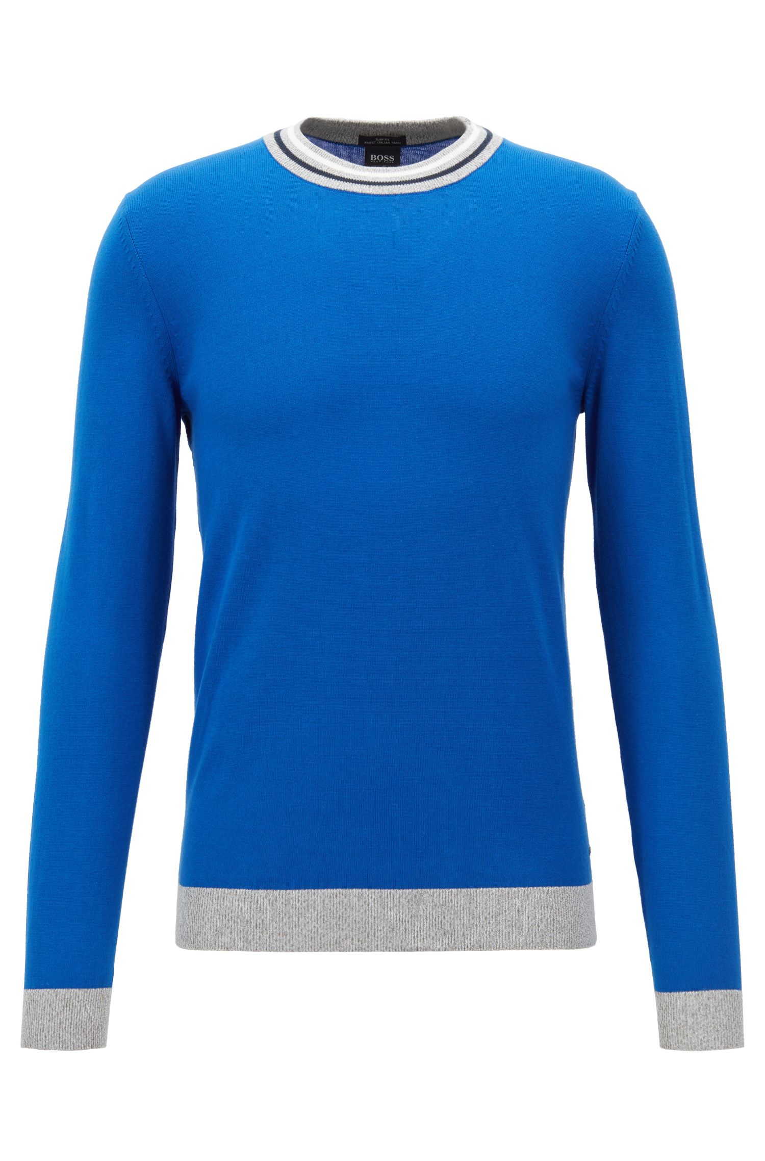 Slim-fit cotton sweater with striped crew neck, Blue